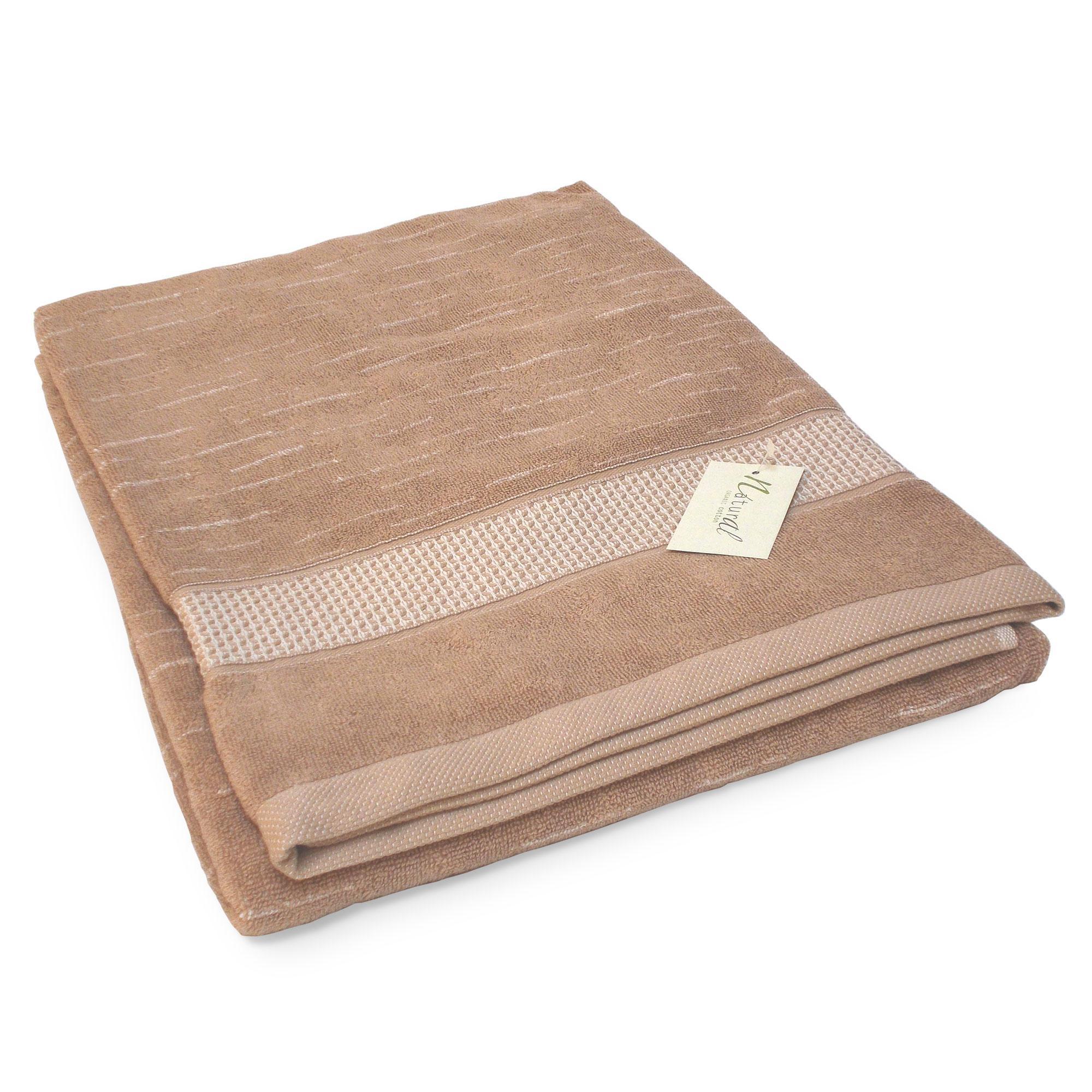 Drap de bain 90x200cm coton bio ficus marron linnea - Drap de bain bio ...
