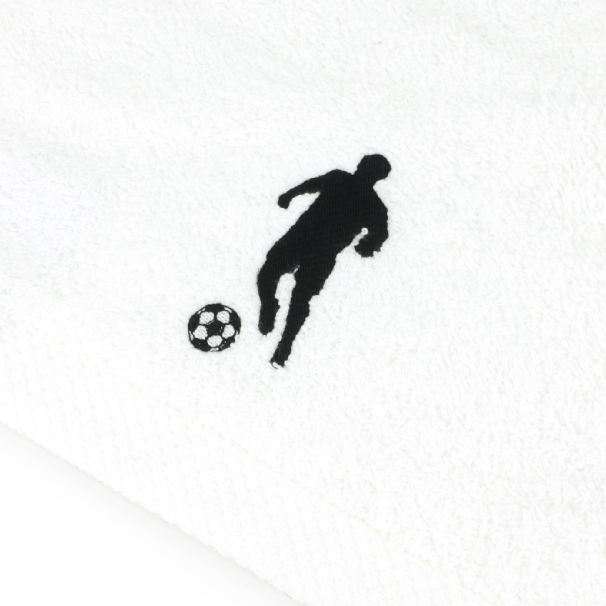 Drap-de-douche-70x140-100-coton-550g-m2-PURE-FOOTBALL-Blanc
