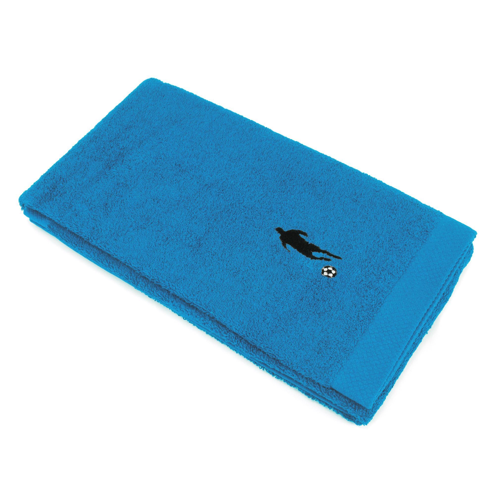 drap de douche 70x140 100 coton 550g m2 pure football bleu turquoise ebay. Black Bedroom Furniture Sets. Home Design Ideas