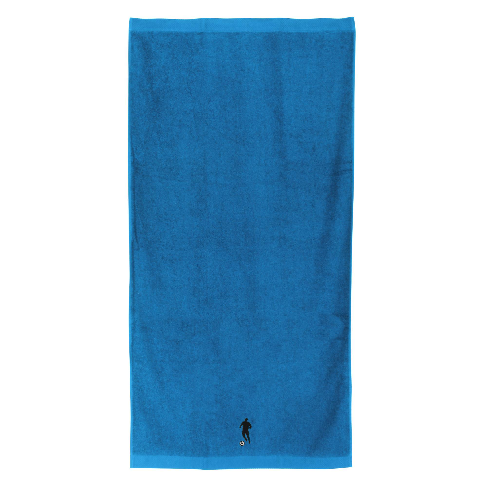 drap de douche 70x140 100 coton 550g m2 pure football bleu turquoise ebay. Black Bedroom Furniture Sets. Home Design Ideas