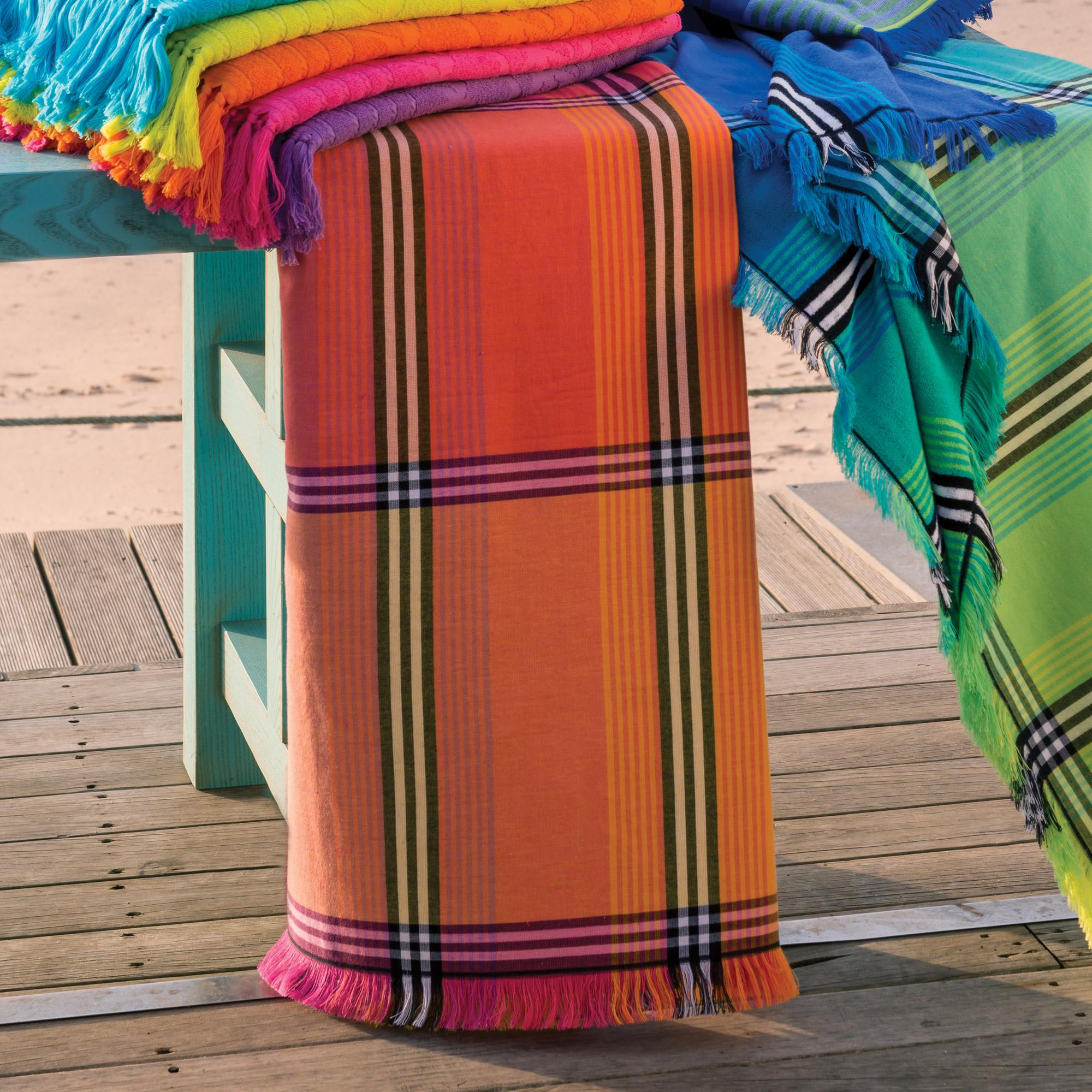drap de plage fouta 100x180 cm 100 coton 270 g m2 vallevo orange d grad avec l ebay. Black Bedroom Furniture Sets. Home Design Ideas