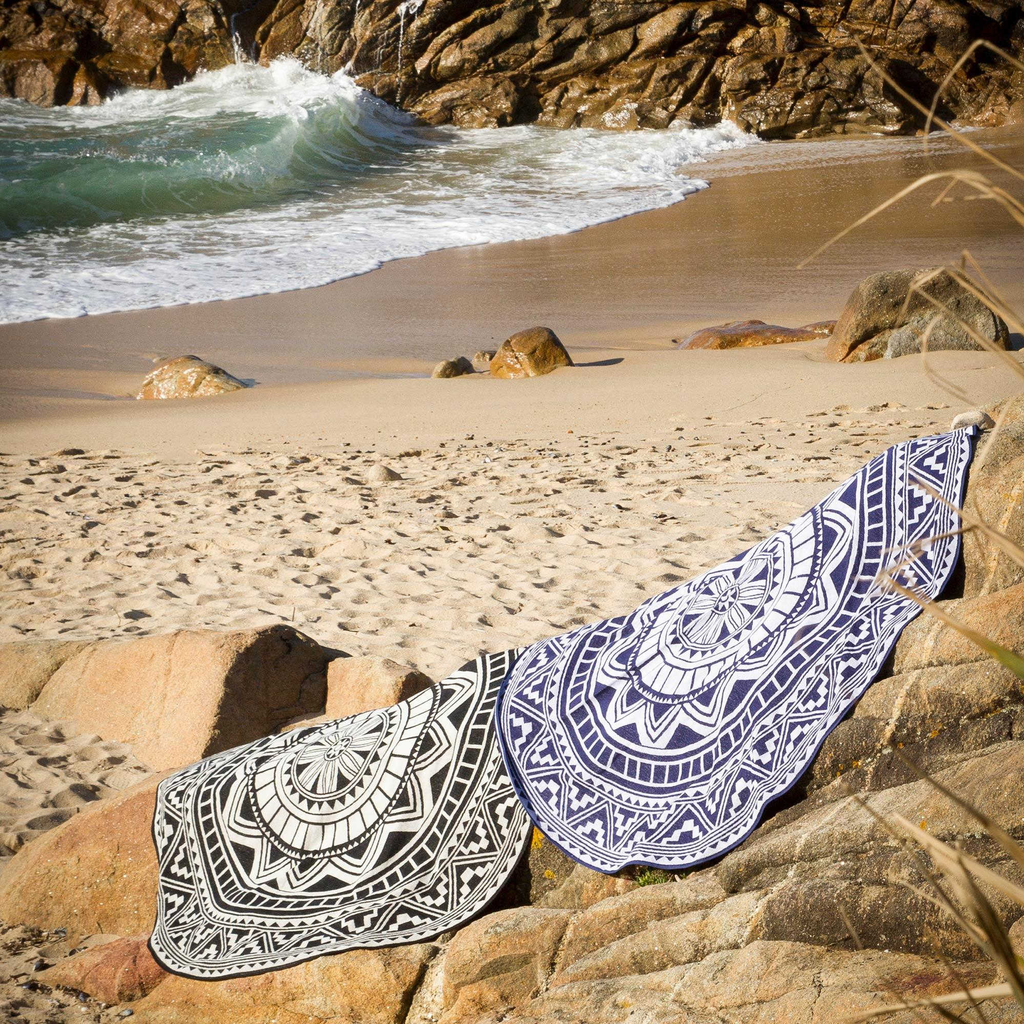 drap de plage fouta ronde r180 100 coton 290 g m pelosa mosaic arabesque noir ebay. Black Bedroom Furniture Sets. Home Design Ideas