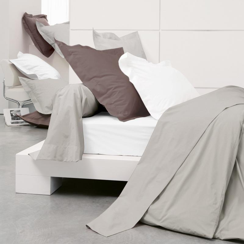 drap housse 140x190cm uni pur percale primo blanc linnea linge de maison et. Black Bedroom Furniture Sets. Home Design Ideas