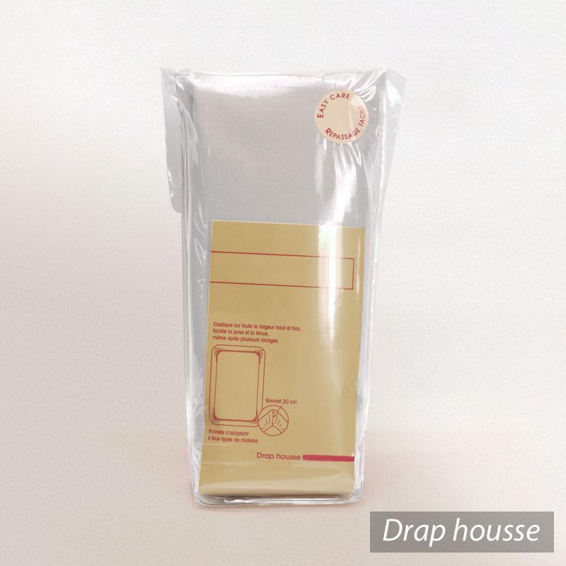 Drap housse 140x200cm uni pur coton alto gris calcium for Drap housse 140x200