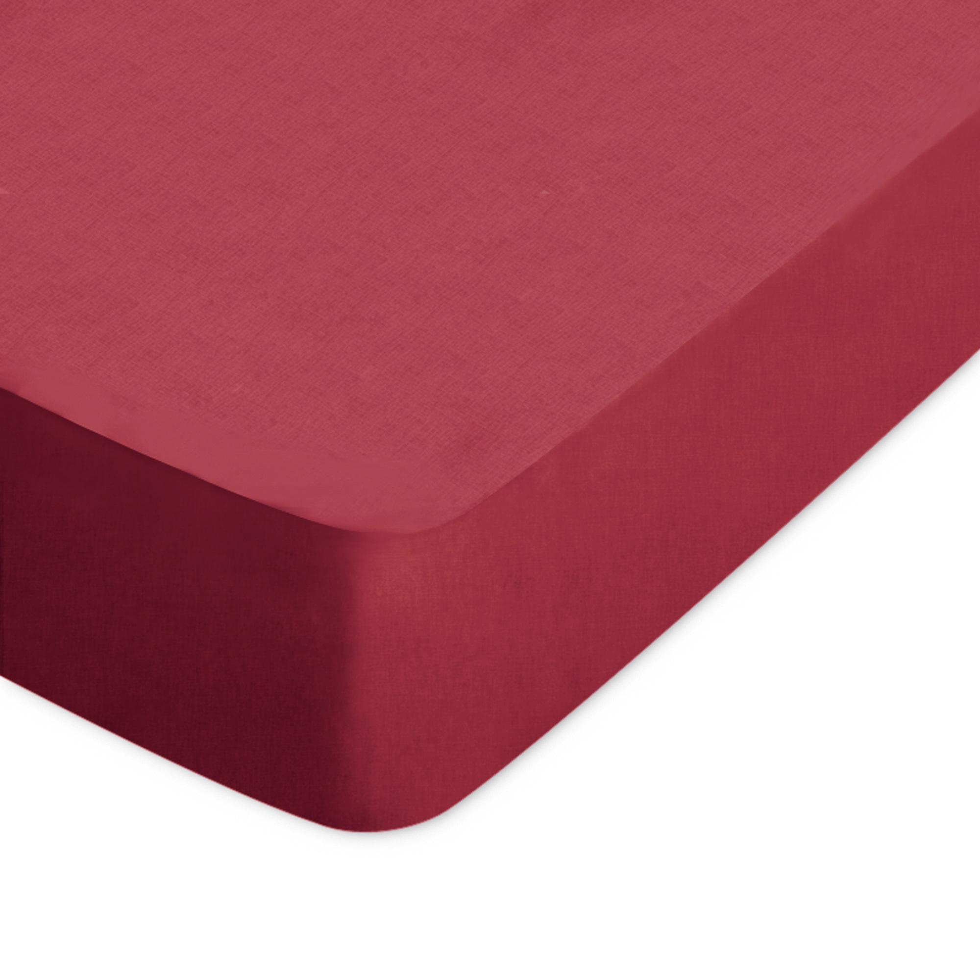Drap housse 150x200cm uni pur coton ALTO rouge Garance | Linnea