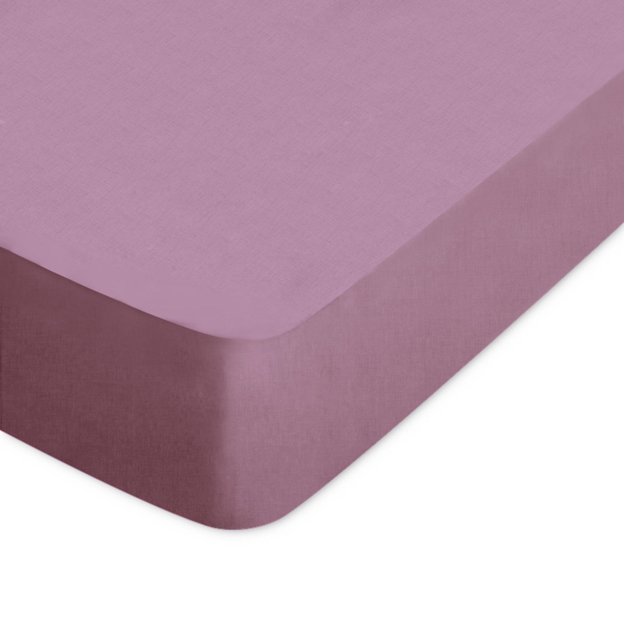 Drap housse 160x190cm uni pur coton ALTO violet Raisin | Linnea