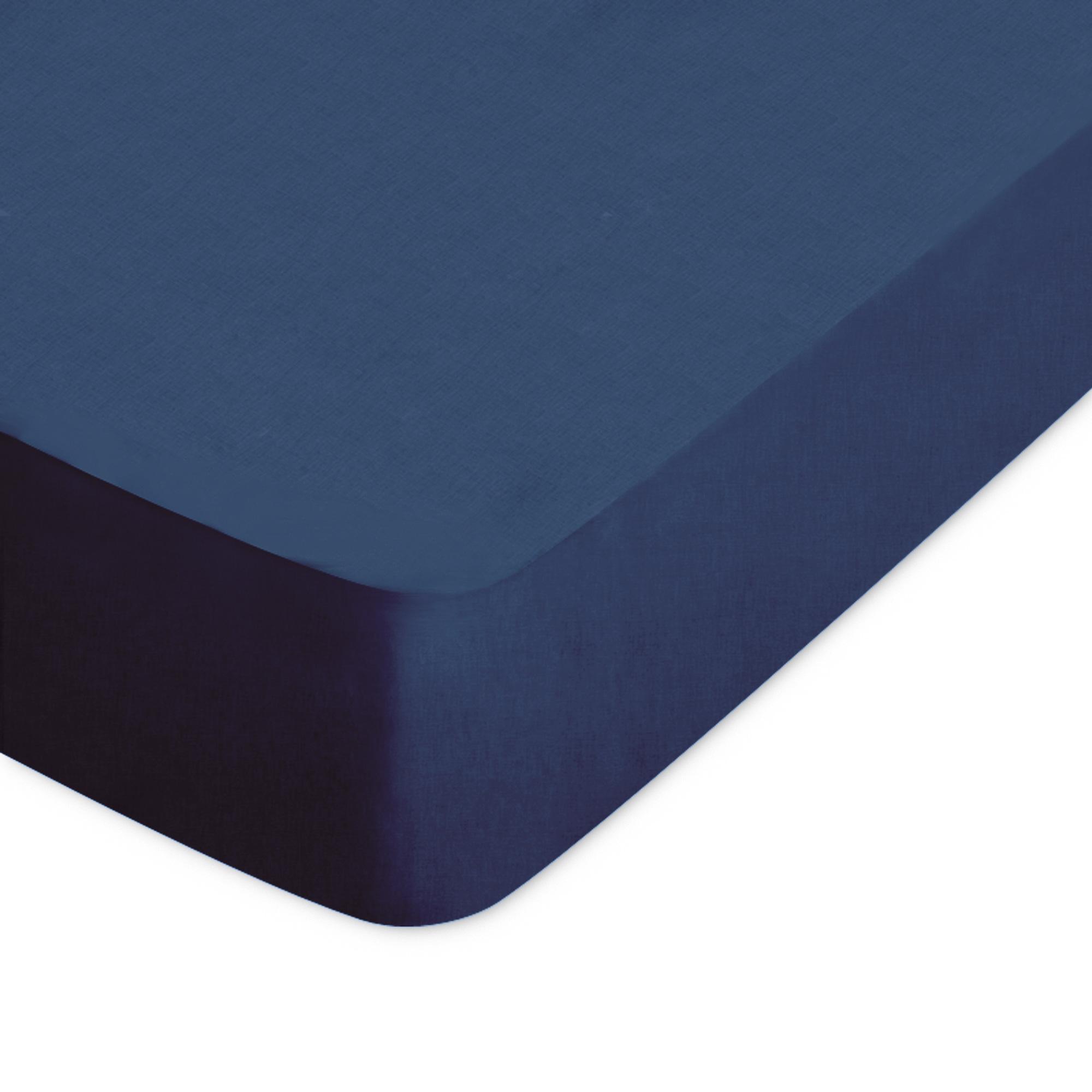 drap housse 180x220cm uni pur coton alto bleu nautic linnea linge de maison et. Black Bedroom Furniture Sets. Home Design Ideas