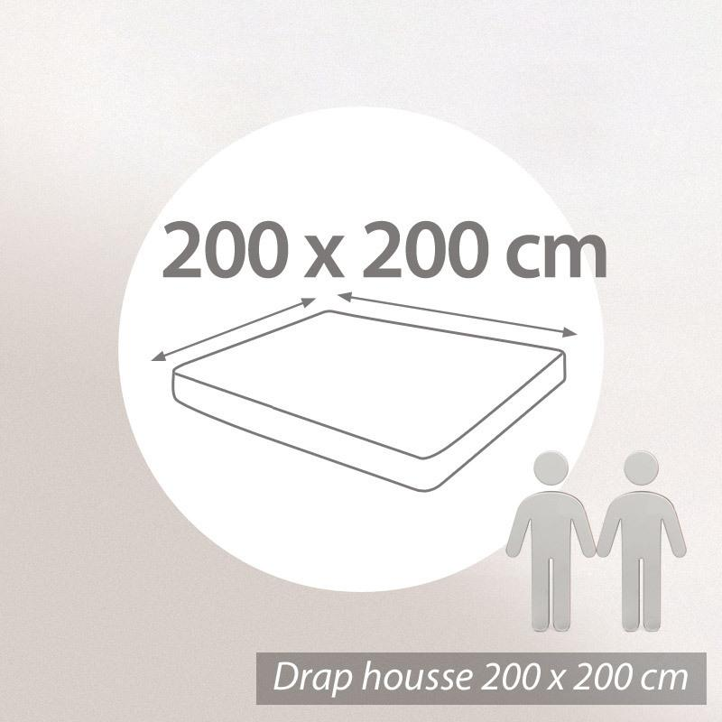 Drap housse 200x200cm uni pur coton alto blanc linnea for Drap housse 200 x 200