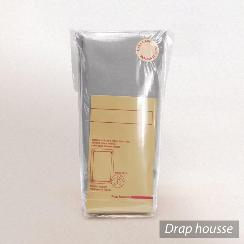 Drap housse 70x190cm uni pur coton alto gris alu linnea for Drap housse 70x190