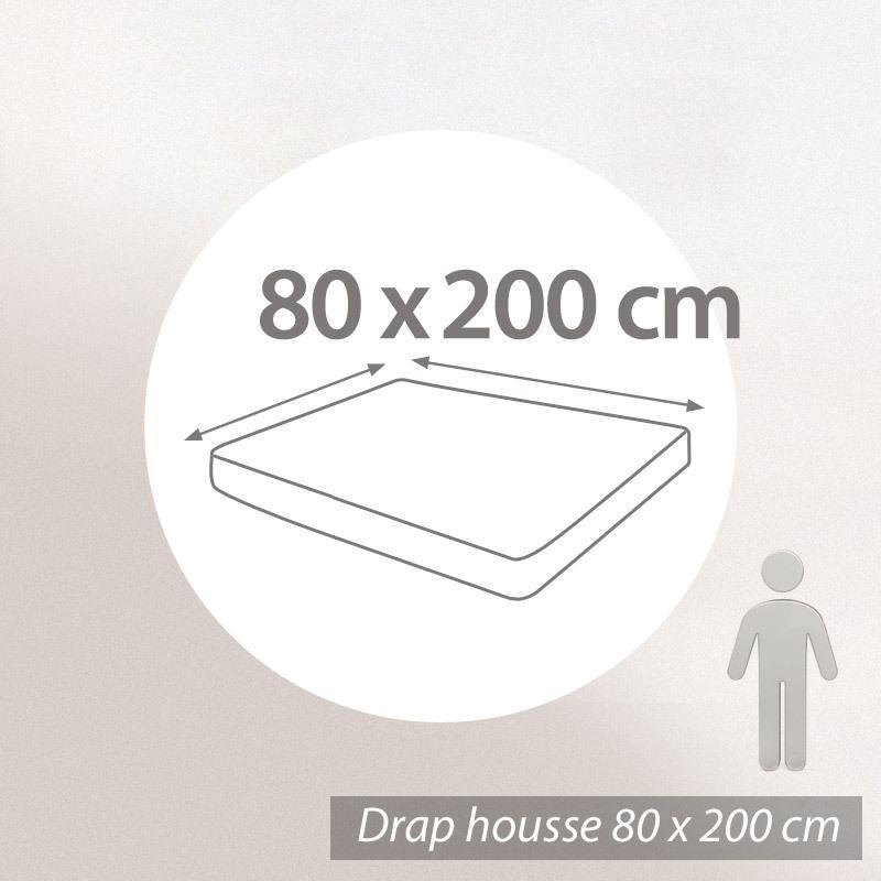 Drap housse 80x200cm uni pur coton ALTO Blanc