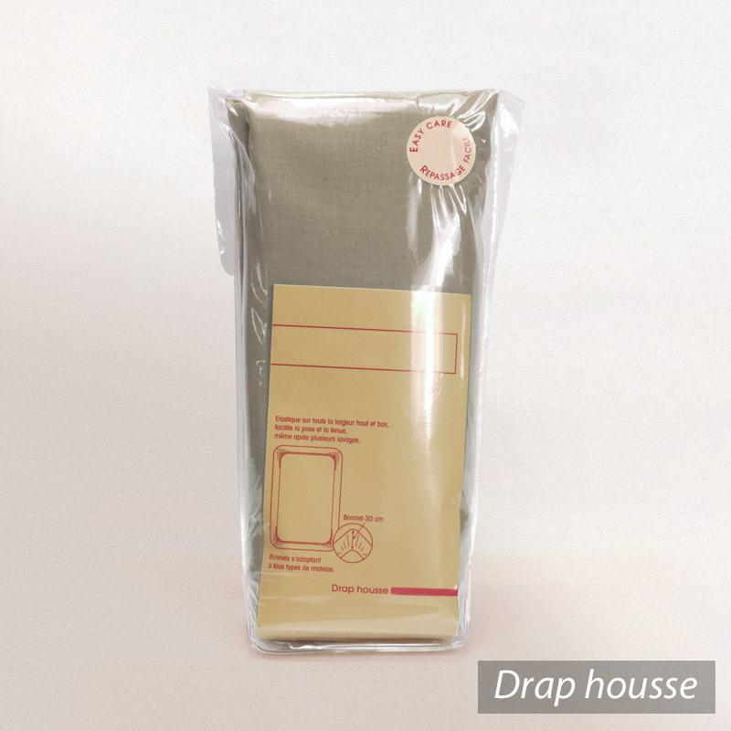 drap housse 80x200cm uni pur coton alto marron chamois linnea linge de maison et. Black Bedroom Furniture Sets. Home Design Ideas