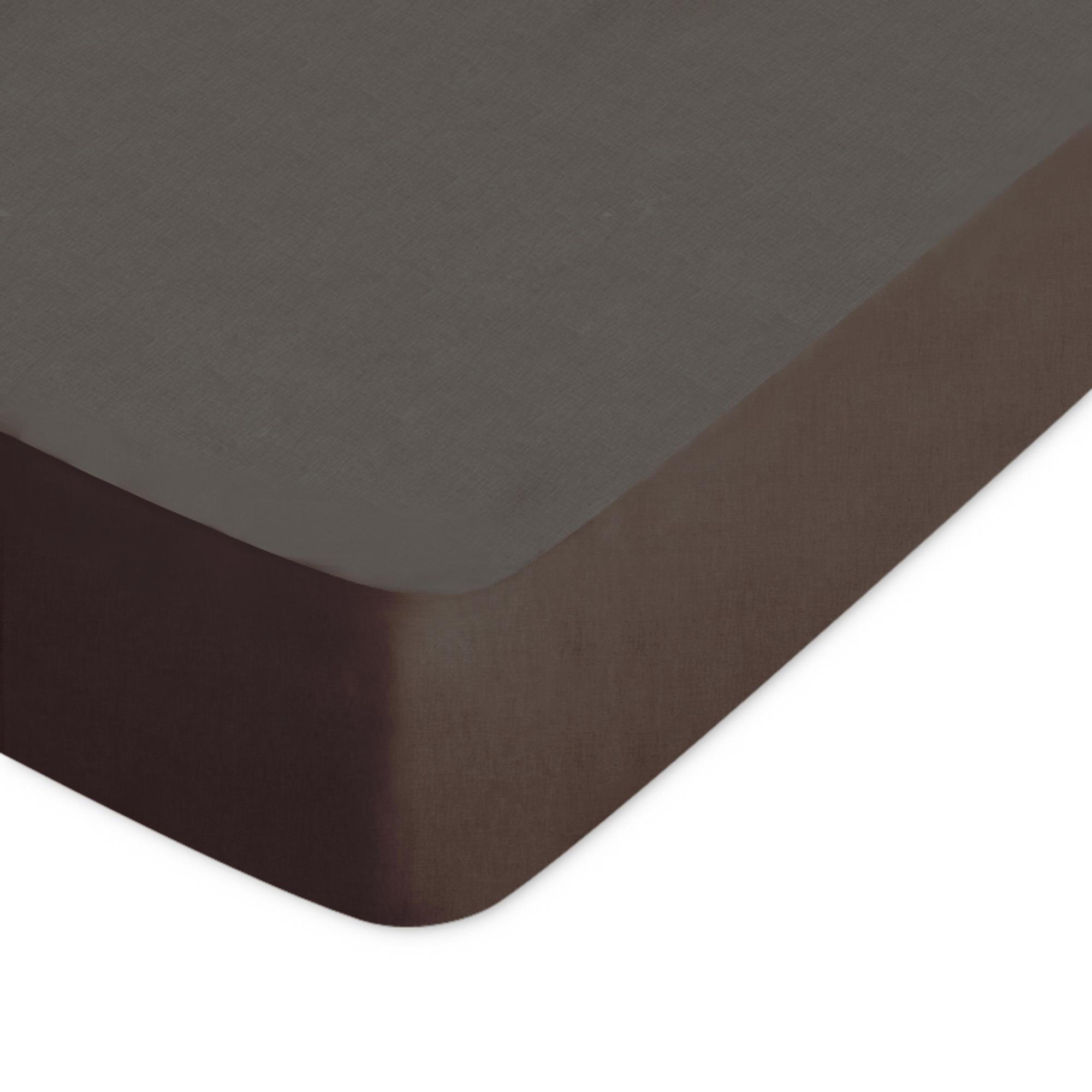 drap housse 80x200cm uni pur coton alto marron mangan se linnea linge de maison et. Black Bedroom Furniture Sets. Home Design Ideas