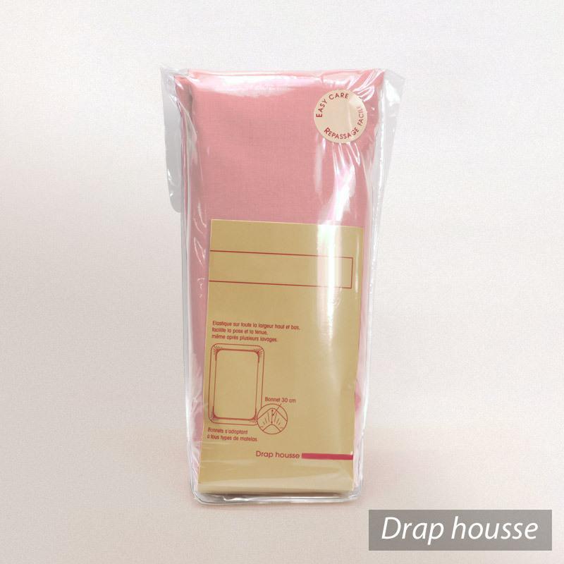 drap housse 80x200cm uni pur coton alto rose macaron linnea linge de maison et. Black Bedroom Furniture Sets. Home Design Ideas
