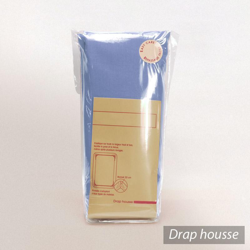 drap housse 90x200cm uni pur coton alto bleu belle ile linnea linge de maison et. Black Bedroom Furniture Sets. Home Design Ideas