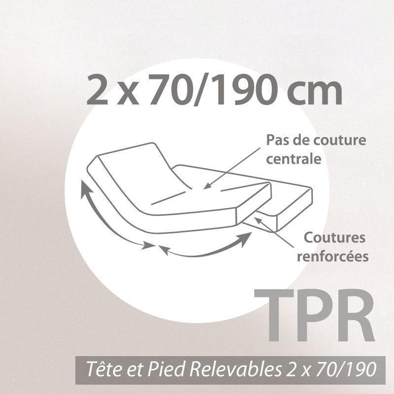 drap housse relaxation 2x70x190cm uni pur coton alto blanc - tpr