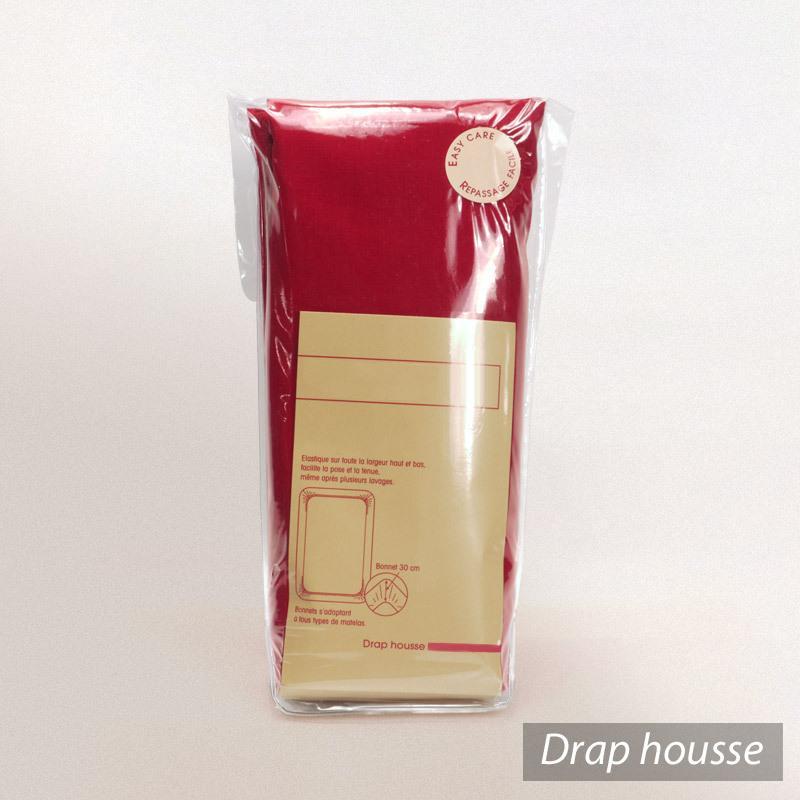 Drap housse relaxation 2x80x200cm uni pur coton ALTO rouge Garance