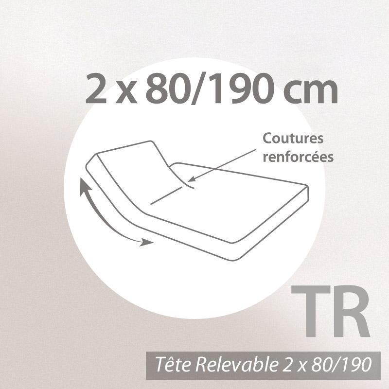 drap housse relaxation 2x80x190cm uni pur coton alto blanc tr t te relevable uniquement. Black Bedroom Furniture Sets. Home Design Ideas
