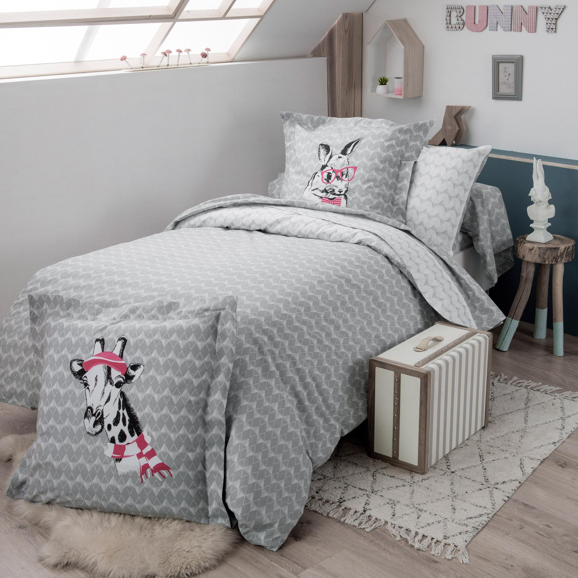 drap housse 90x190 cm 100 coton bunny linnea linge de maison et. Black Bedroom Furniture Sets. Home Design Ideas