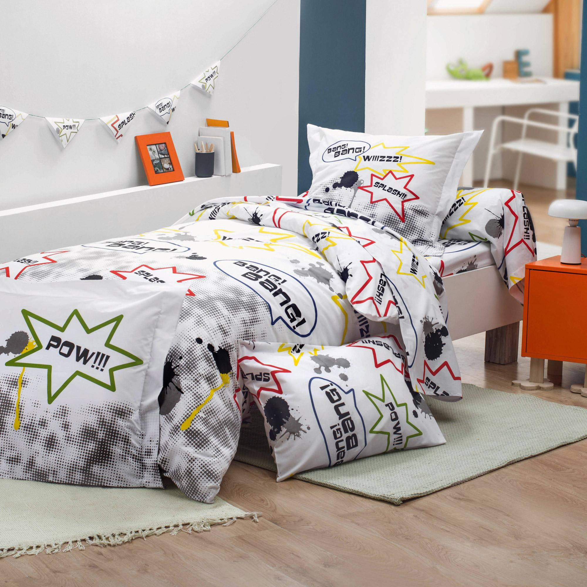 drap housse 90x190 cm 100 coton comics linnea vente de linge de maison. Black Bedroom Furniture Sets. Home Design Ideas