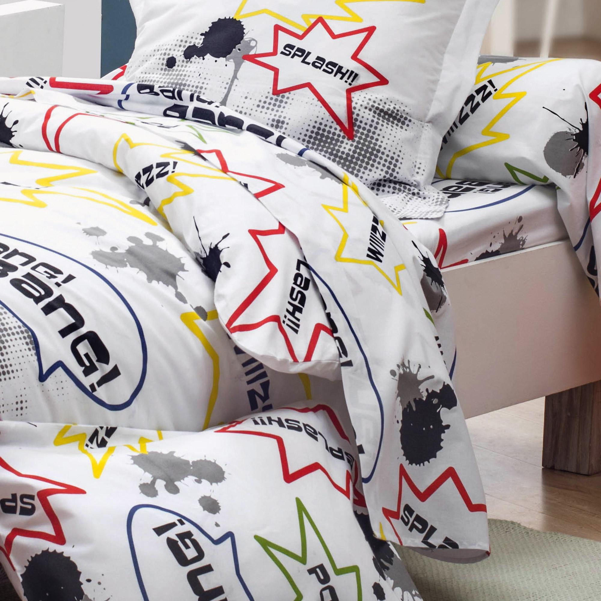 drap plat 180x290 cm 100 coton comics linnea linge de maison et. Black Bedroom Furniture Sets. Home Design Ideas