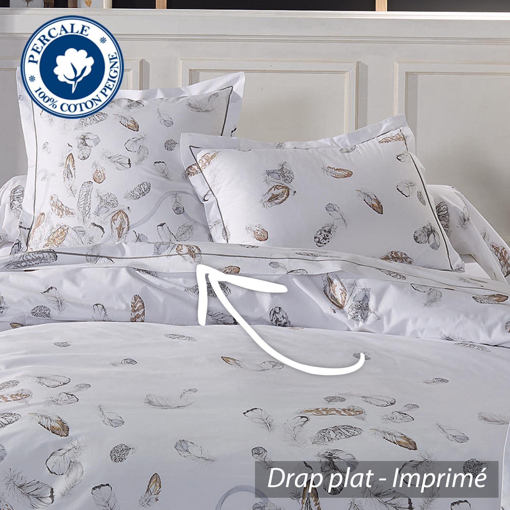 drap plat percale pur coton peign 180x290 cm plumes linnea vente de linge de maison. Black Bedroom Furniture Sets. Home Design Ideas