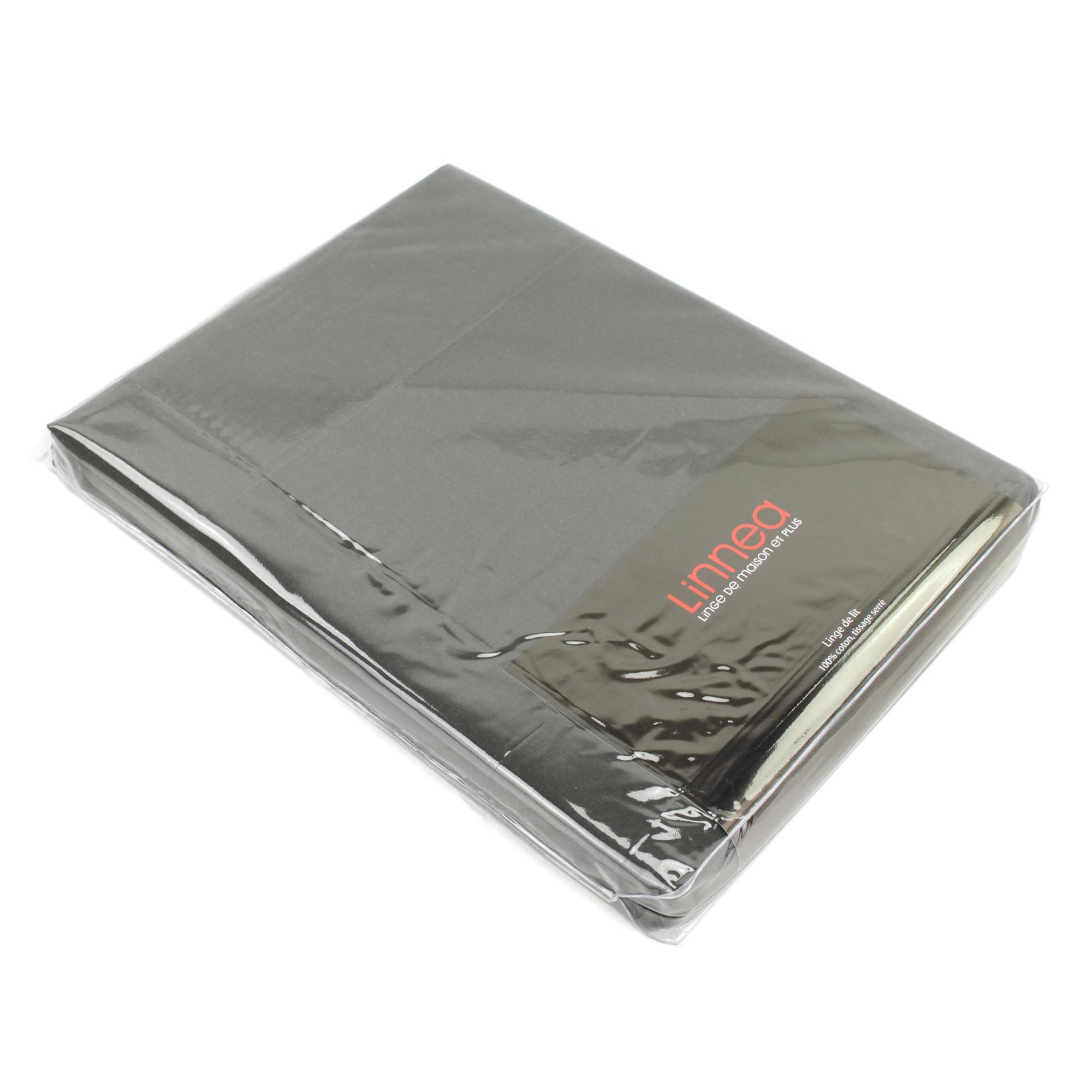 drap plat 270x310 uni satin de coton vosges gris fonc ebay. Black Bedroom Furniture Sets. Home Design Ideas