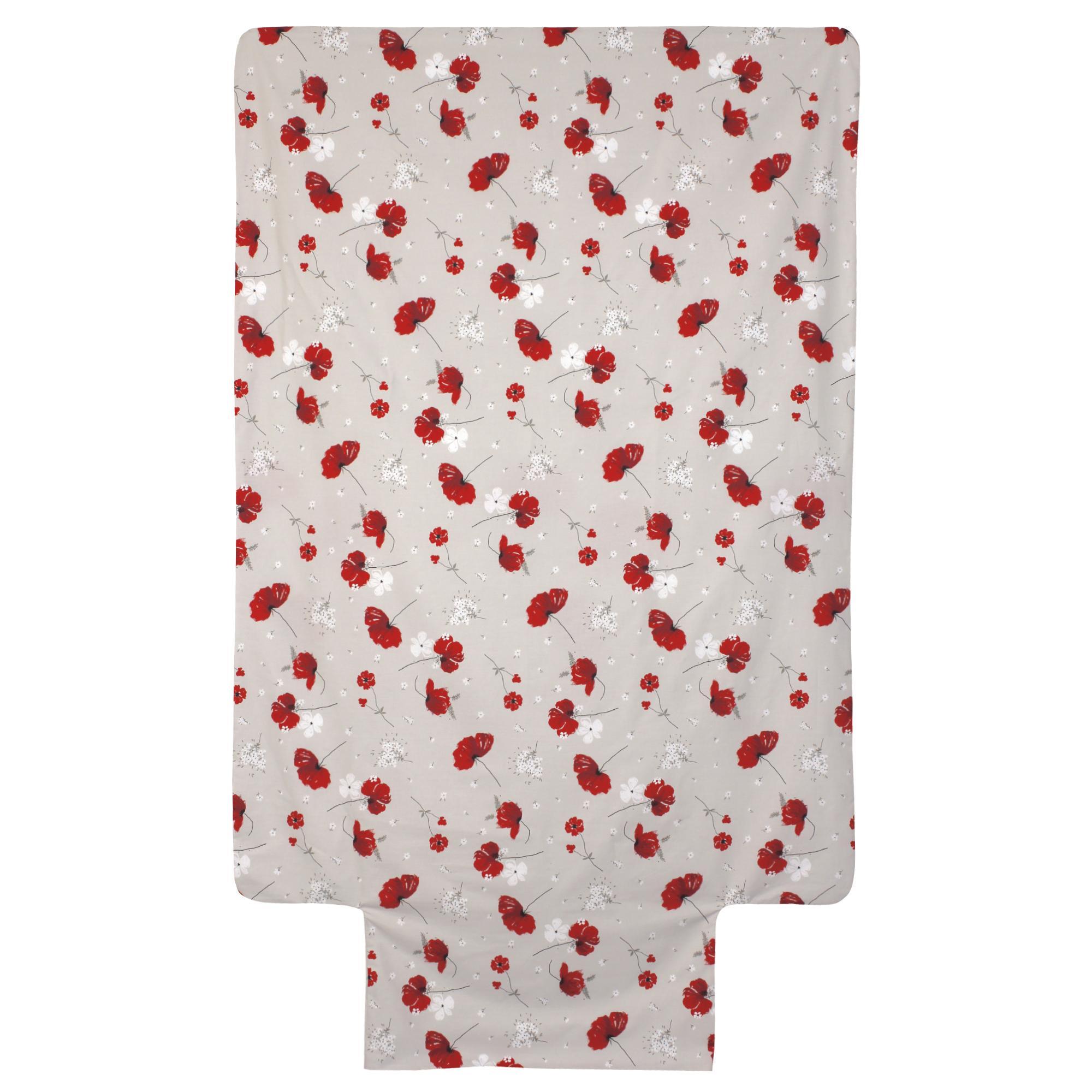 Housse De Couette 140x200 Cm Percale Pur Coton Cybele Flowers Ecru