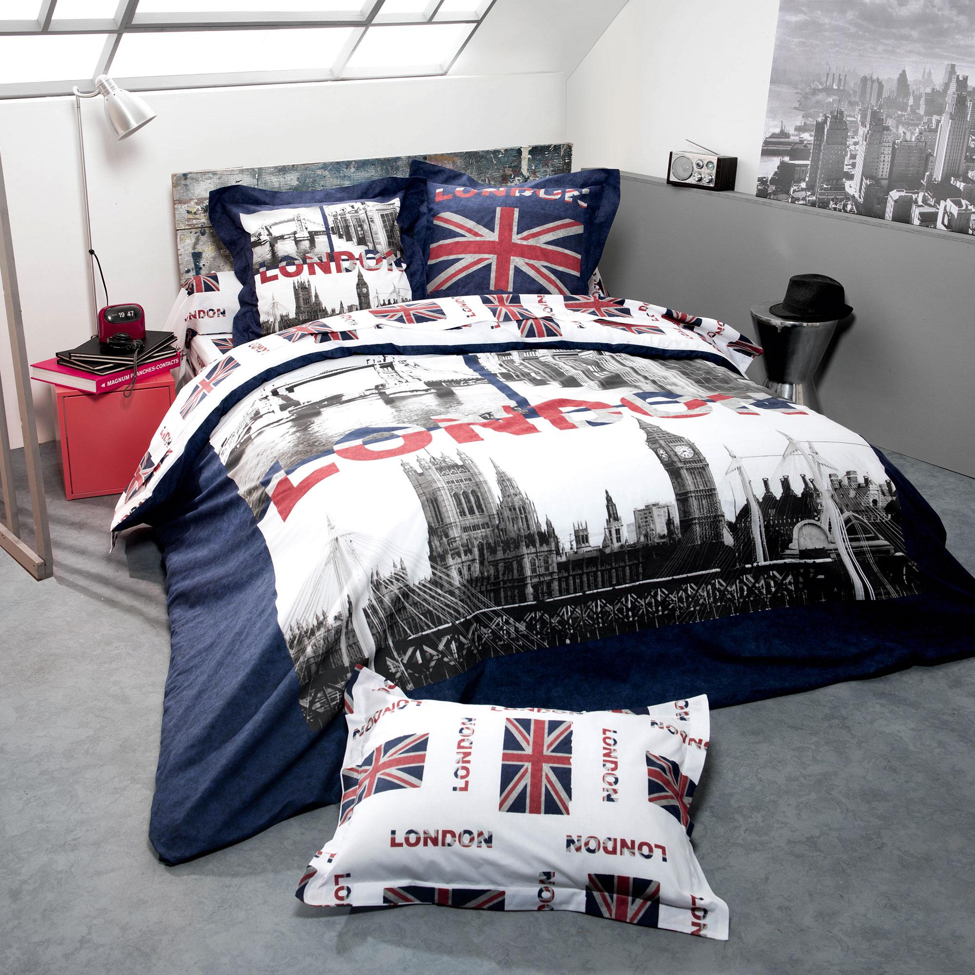 housse de couette 140x200 cm 100 coton jack london city. Black Bedroom Furniture Sets. Home Design Ideas