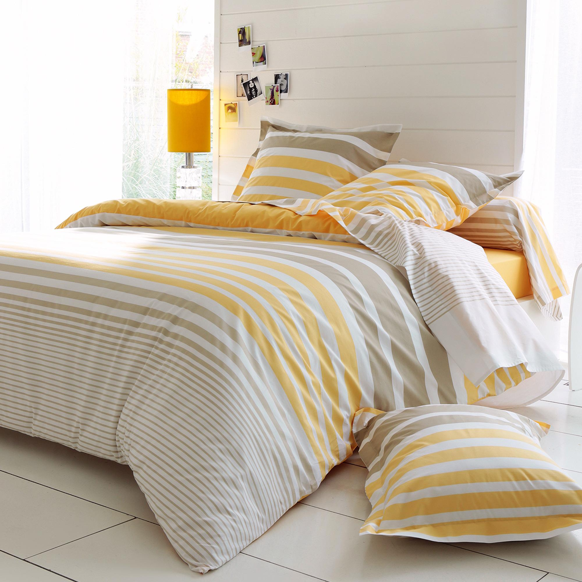 housse de couette 140x200 percale pur coton stripe narcisse jaune ebay. Black Bedroom Furniture Sets. Home Design Ideas