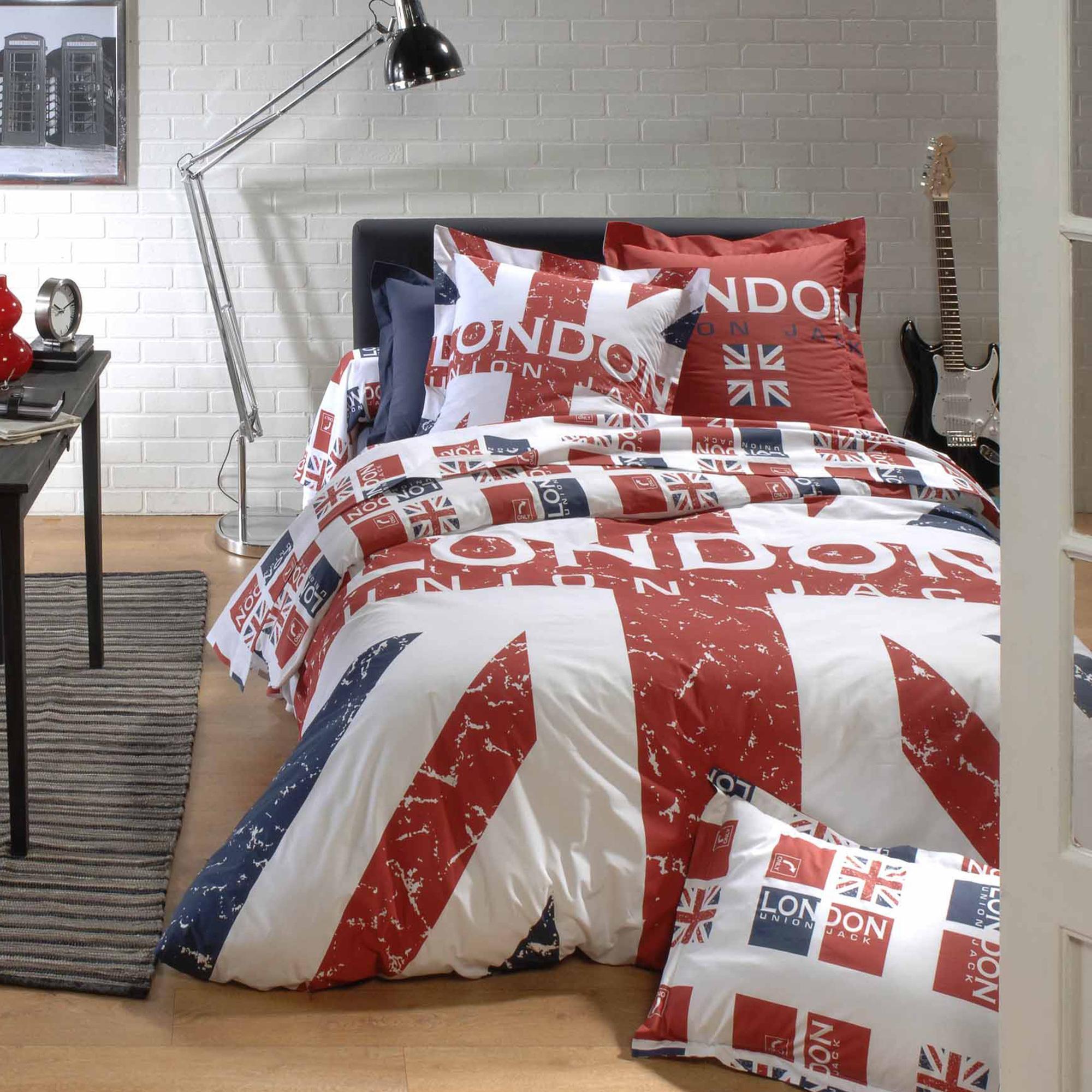 housse de couette 200x200 cm london union jack linnea linge de maison et. Black Bedroom Furniture Sets. Home Design Ideas