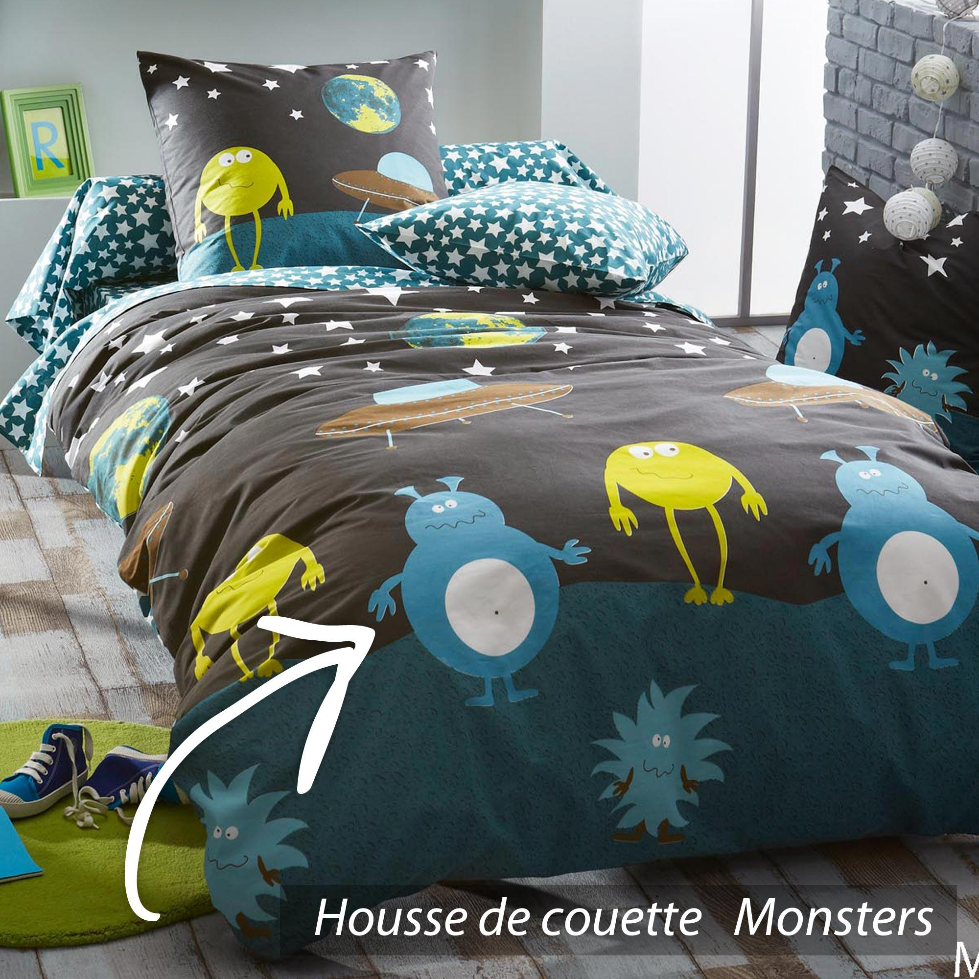 housse de couette 200x200 cm monsters linnea vente de linge de maison. Black Bedroom Furniture Sets. Home Design Ideas
