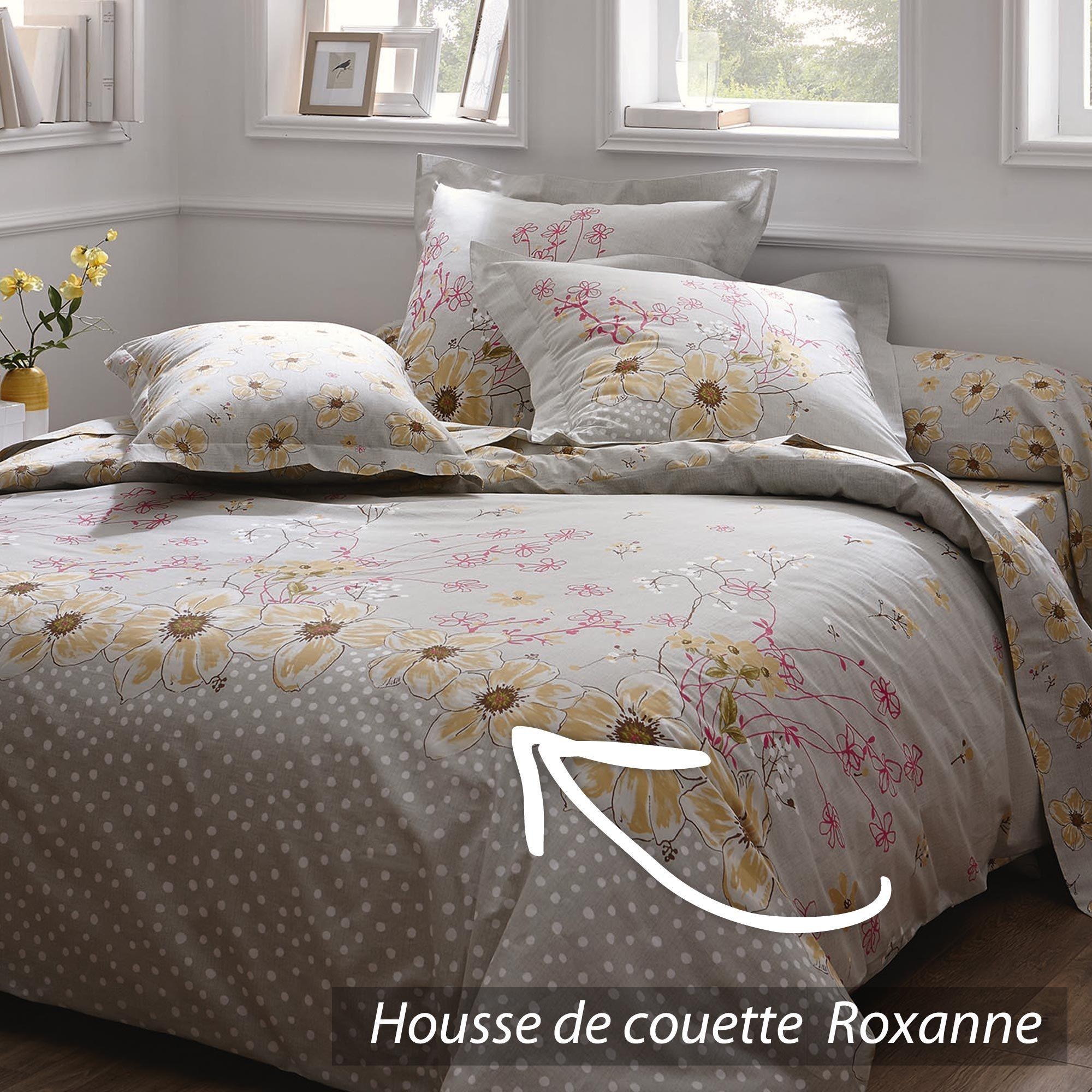 housse de couette 200x200 cm 100 coton roxanne. Black Bedroom Furniture Sets. Home Design Ideas