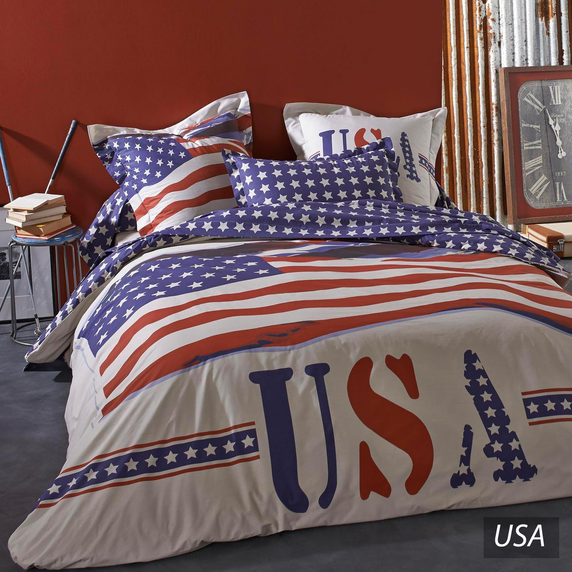 housse couette drapeau americain. Black Bedroom Furniture Sets. Home Design Ideas