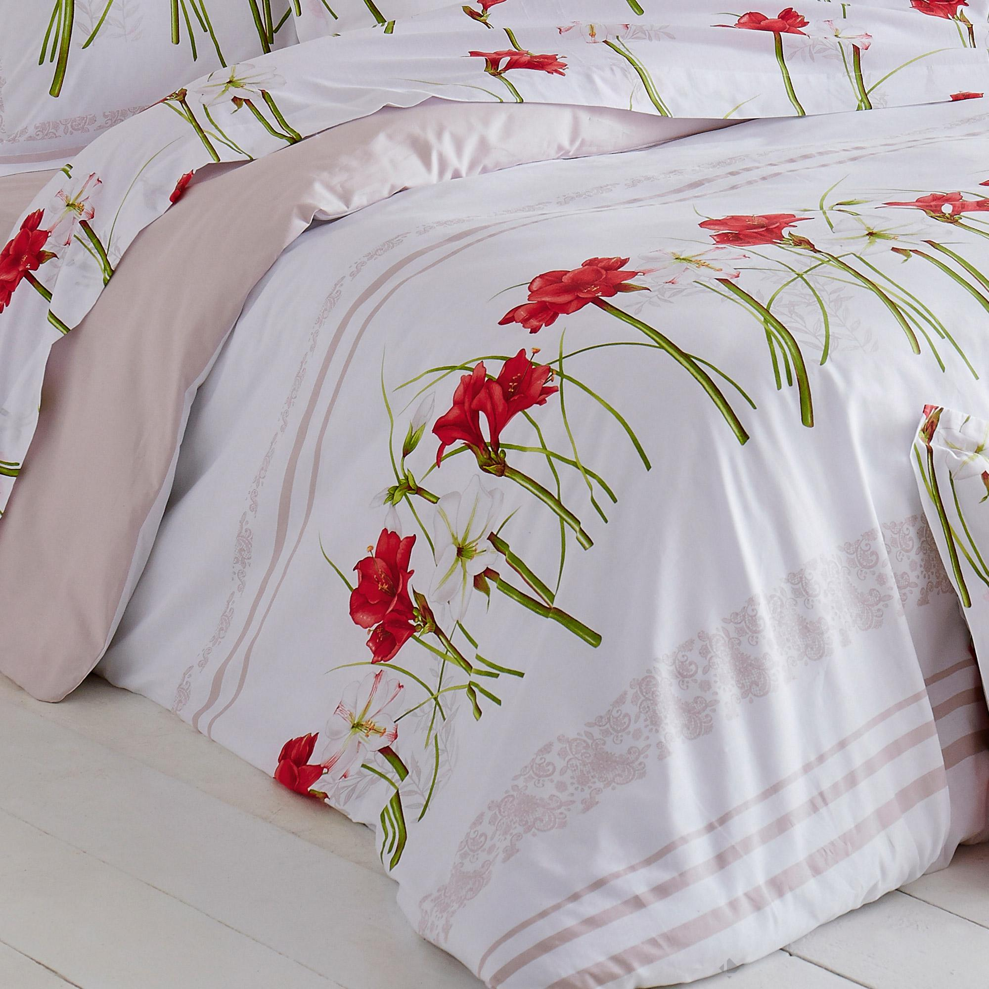 housse de couette 240x220 cm 100 coton amaryllis blanc linnea linge de maison et. Black Bedroom Furniture Sets. Home Design Ideas