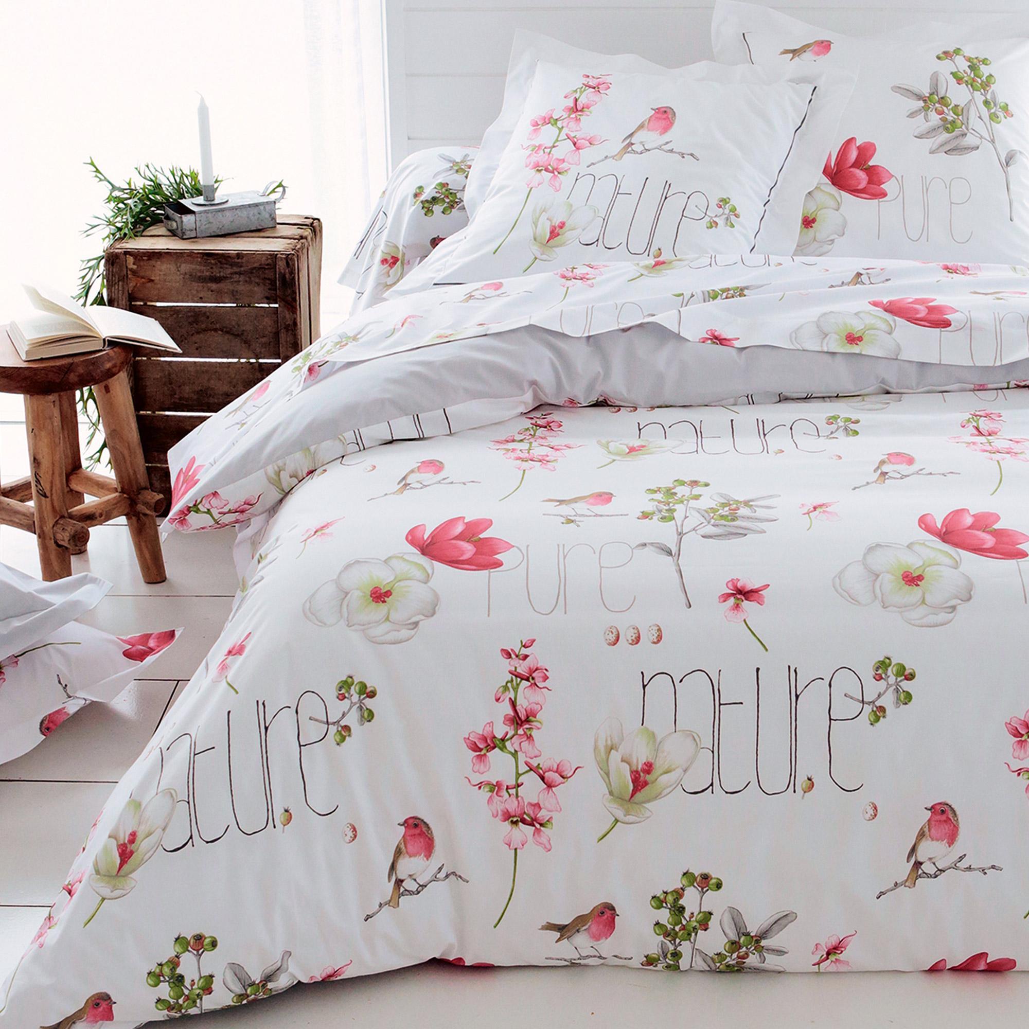 housse de couette 240x220 cm percale pur coton pure nature blanc linnea linge de maison et. Black Bedroom Furniture Sets. Home Design Ideas