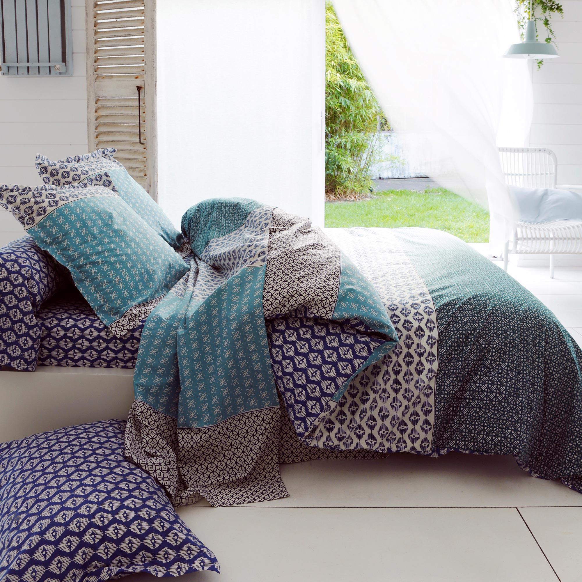 Housse de couette 260x240 cm 100% coton RIO JADE bleu | Linnea