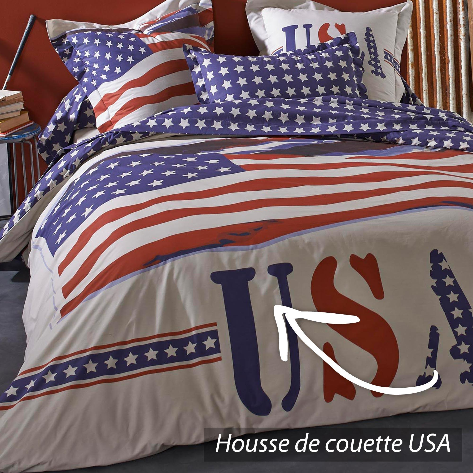 housse de couette usa housse de couette usa 220x240 2 taies 65x65 la compagnie du blanc housse. Black Bedroom Furniture Sets. Home Design Ideas