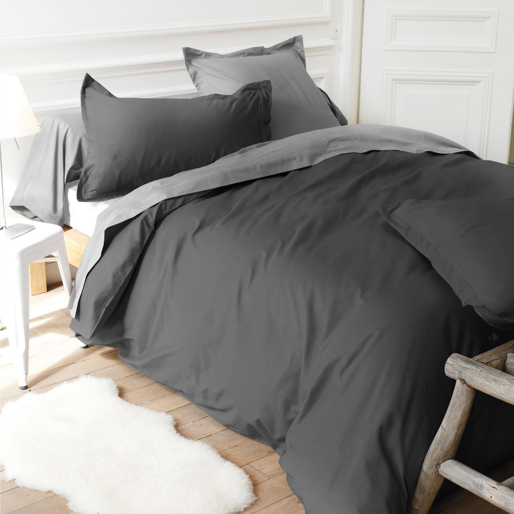 housse de couette 280x240cm uni pur coton alto gris manhattan linnea linge de maison et. Black Bedroom Furniture Sets. Home Design Ideas