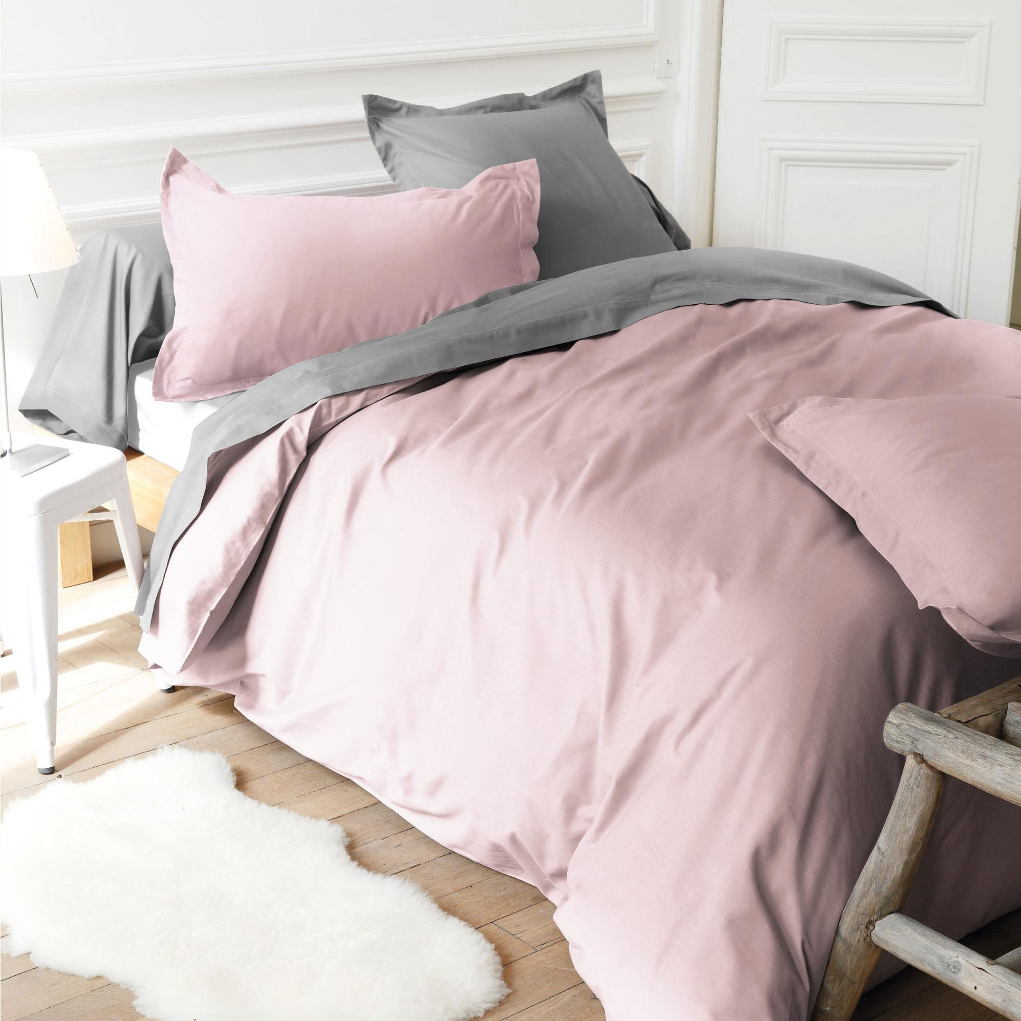 housse de couette 280x240cm uni pur coton alto rose blush linnea linge de maison et. Black Bedroom Furniture Sets. Home Design Ideas