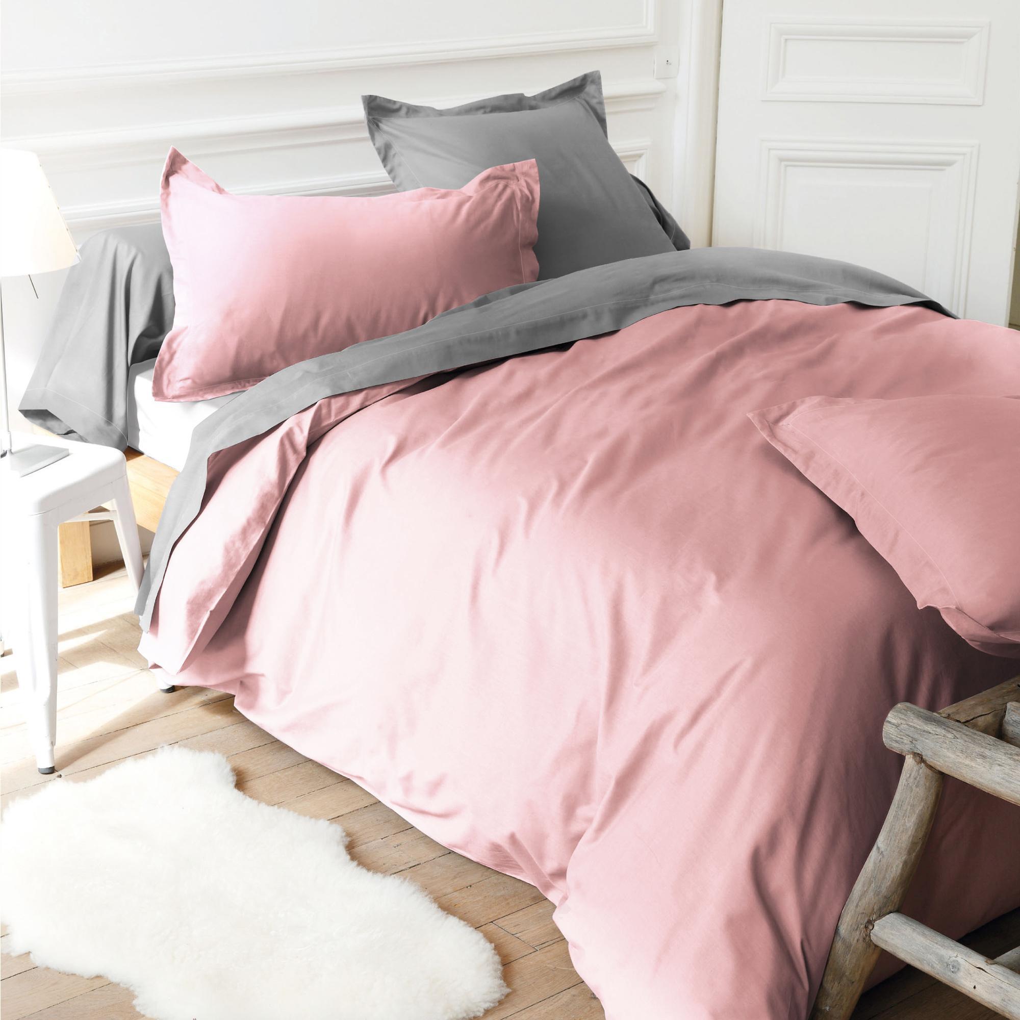 housse de couette 280x240cm uni pur coton alto rose macaron linnea linge de maison et. Black Bedroom Furniture Sets. Home Design Ideas
