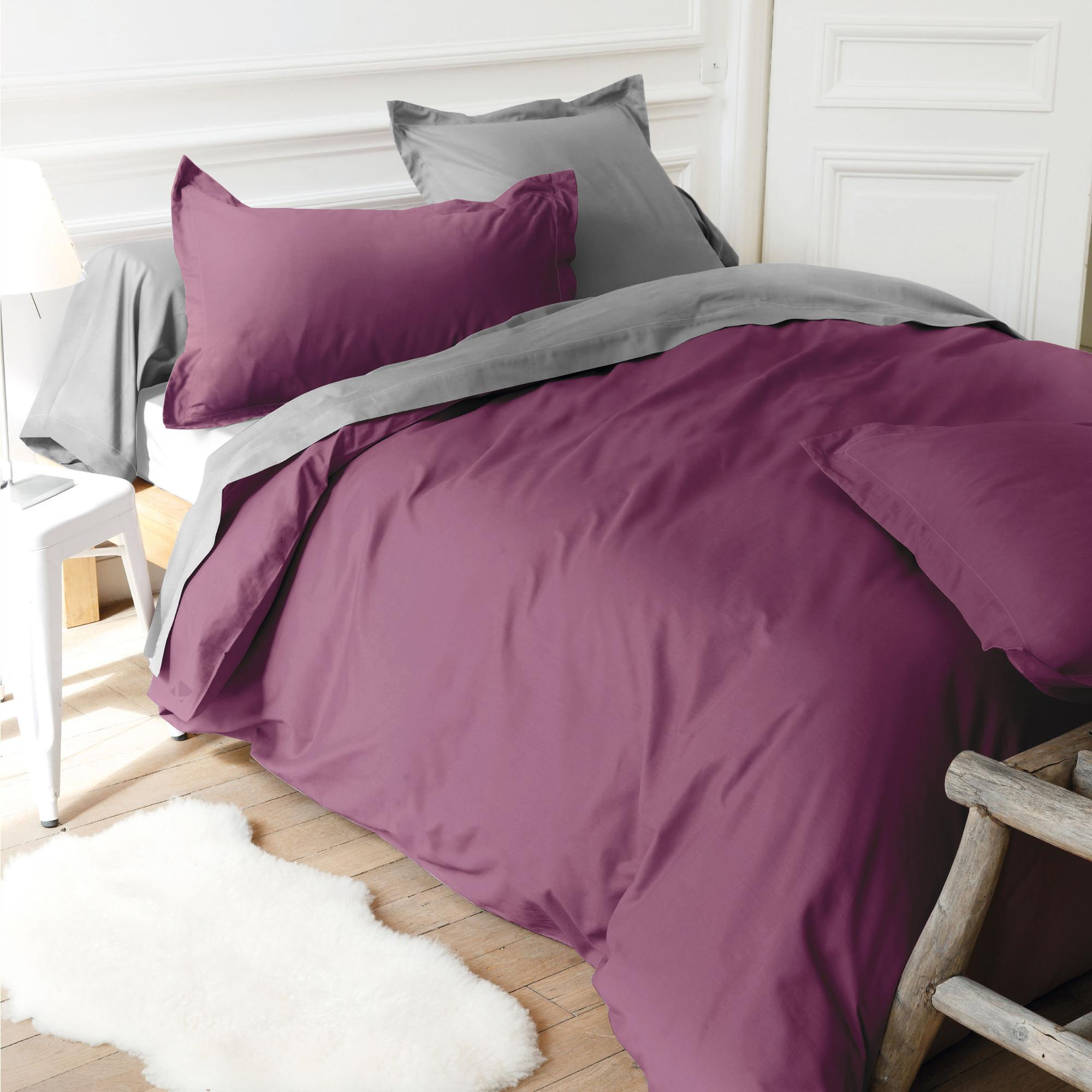 housse de couette 280x240cm uni pur coton alto violet raisin linnea linge de maison et. Black Bedroom Furniture Sets. Home Design Ideas