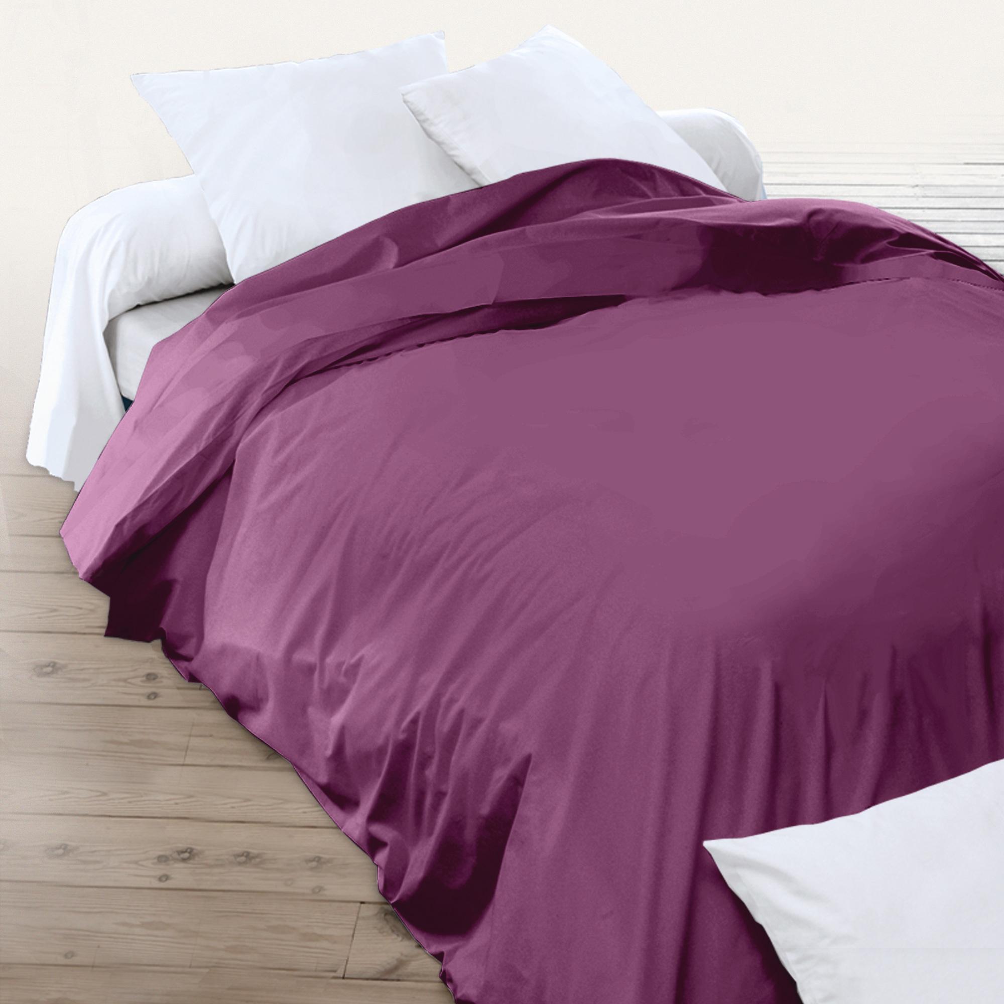 Housse de couette 280x240cm uni pur coton alto violet - Housse de couette plage ...