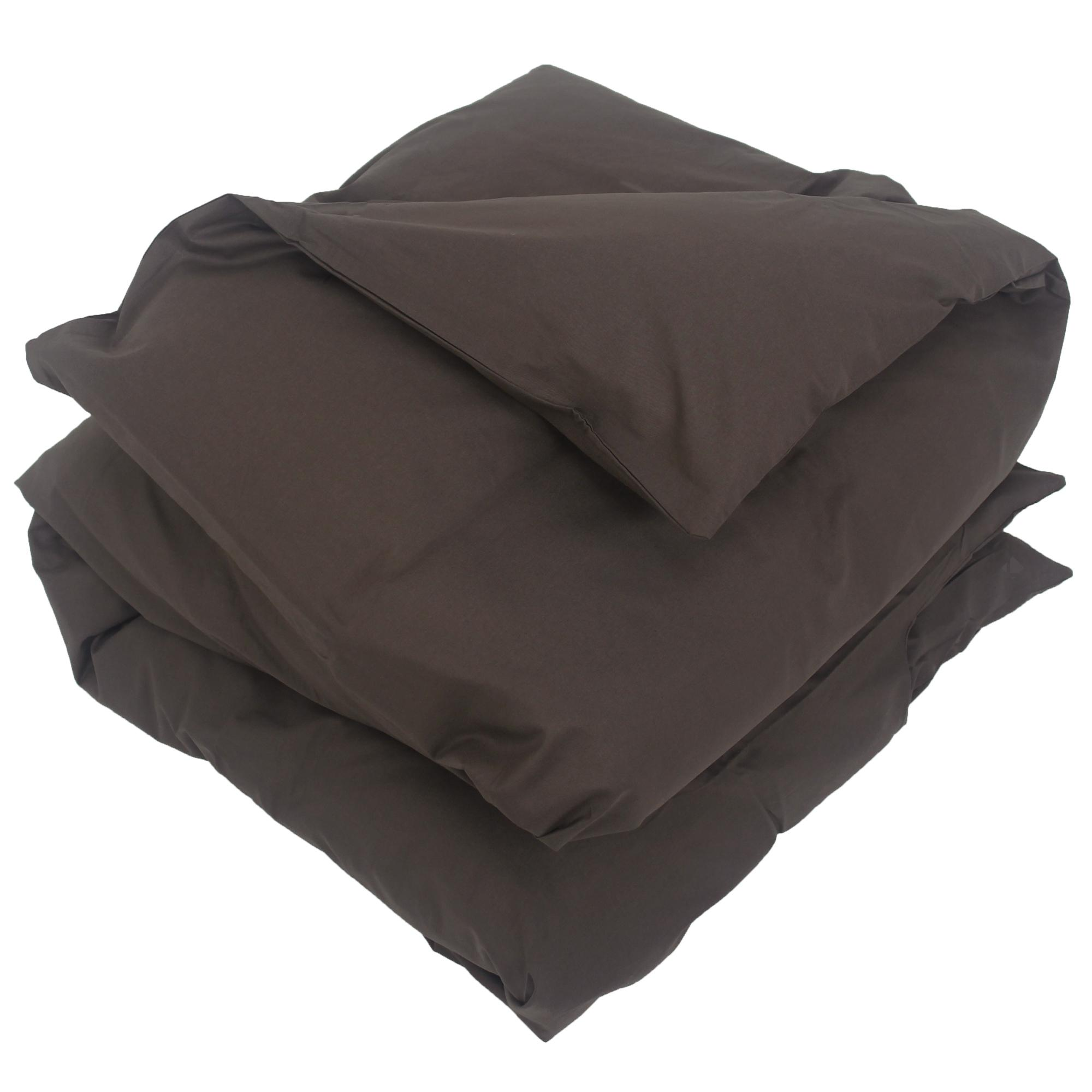 housse de couette 300x240cm uni pur coton alto marron mangan se linnea linge de maison et. Black Bedroom Furniture Sets. Home Design Ideas