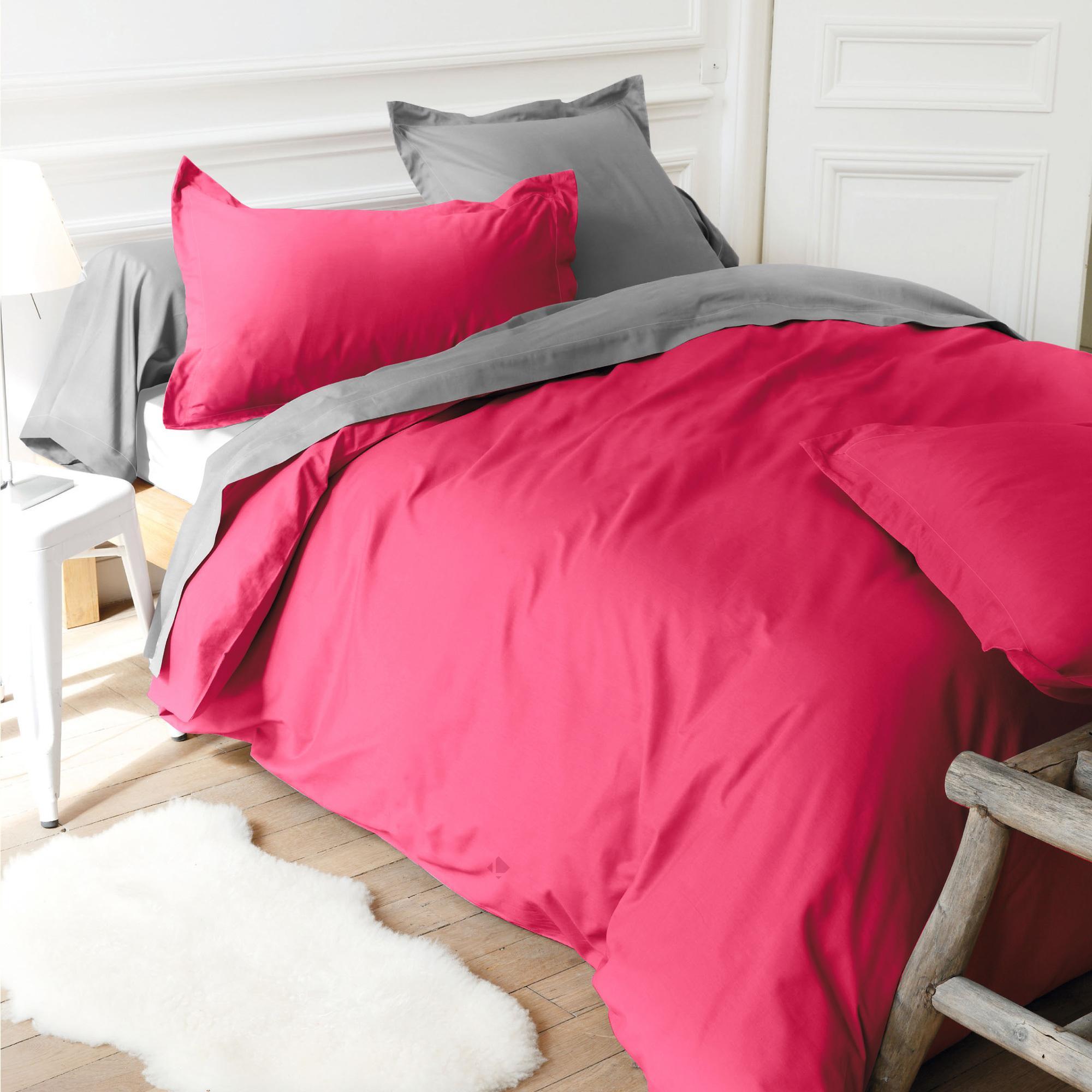 housse de couette 300x240cm uni pur coton alto rose kerala linnea linge de maison et. Black Bedroom Furniture Sets. Home Design Ideas