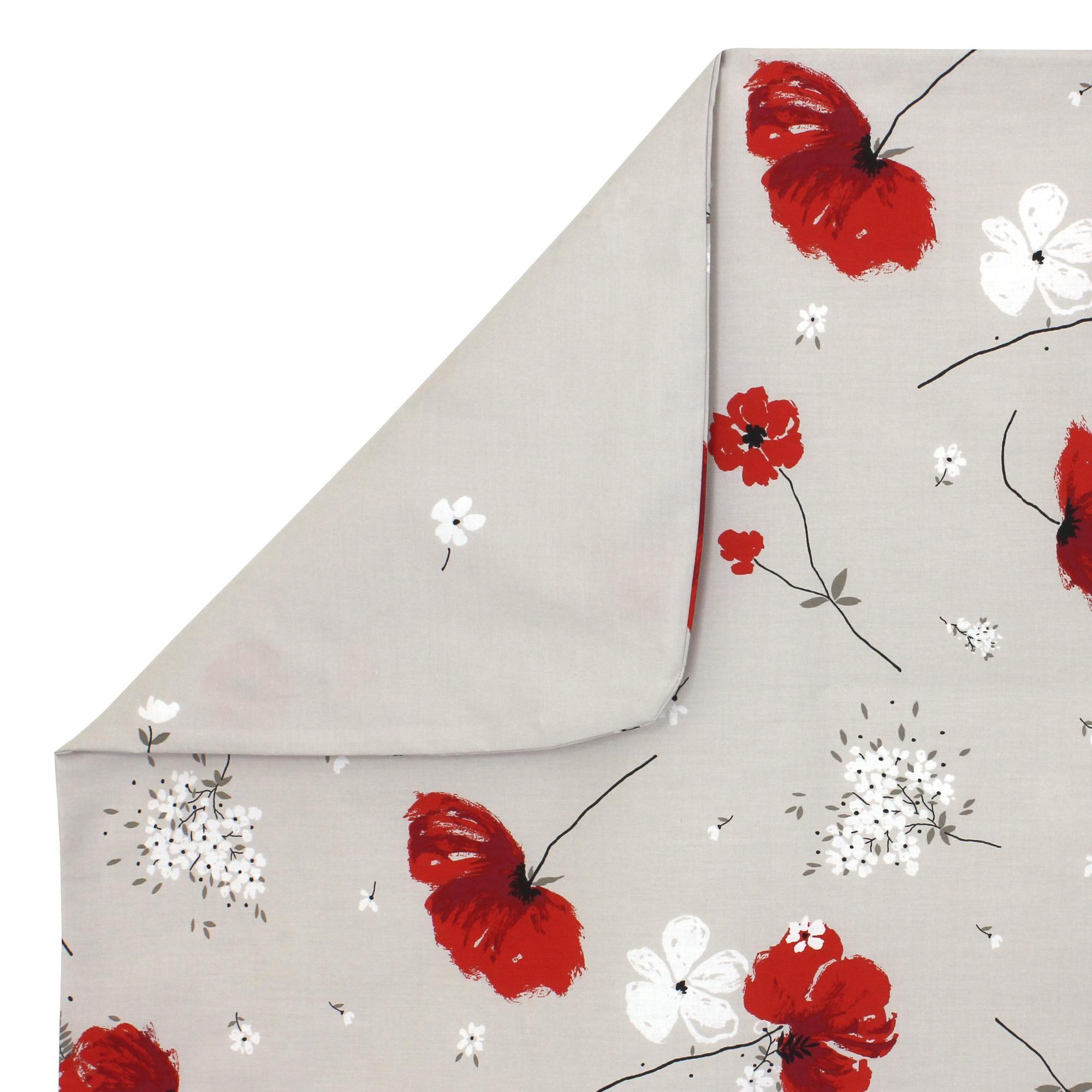 housse de couette 300x240 cm percale pur coton cybele flowers ecru linnea linge de maison et. Black Bedroom Furniture Sets. Home Design Ideas