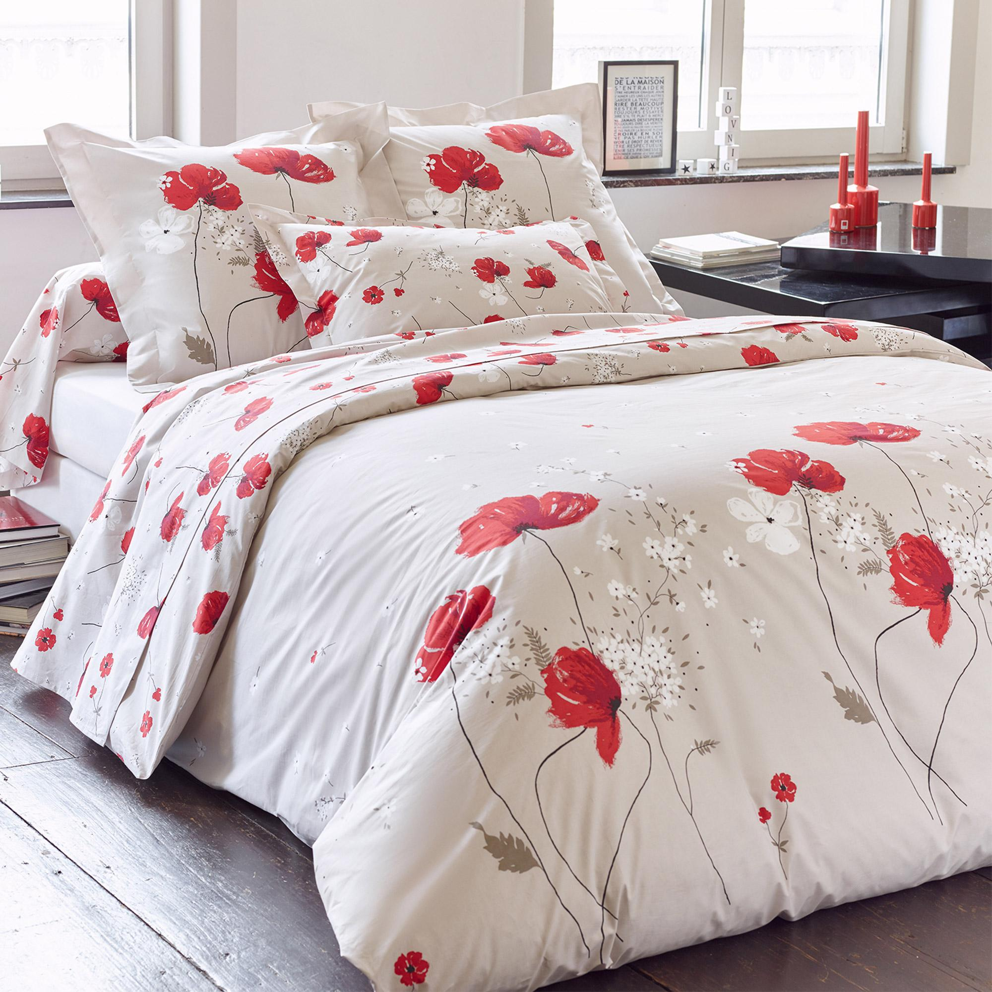 housse de couette 300x240 cm percale pur coton cybele flowers ecru linnea linge de maison et. Black Bedroom Furniture Sets. Home Design Ideas