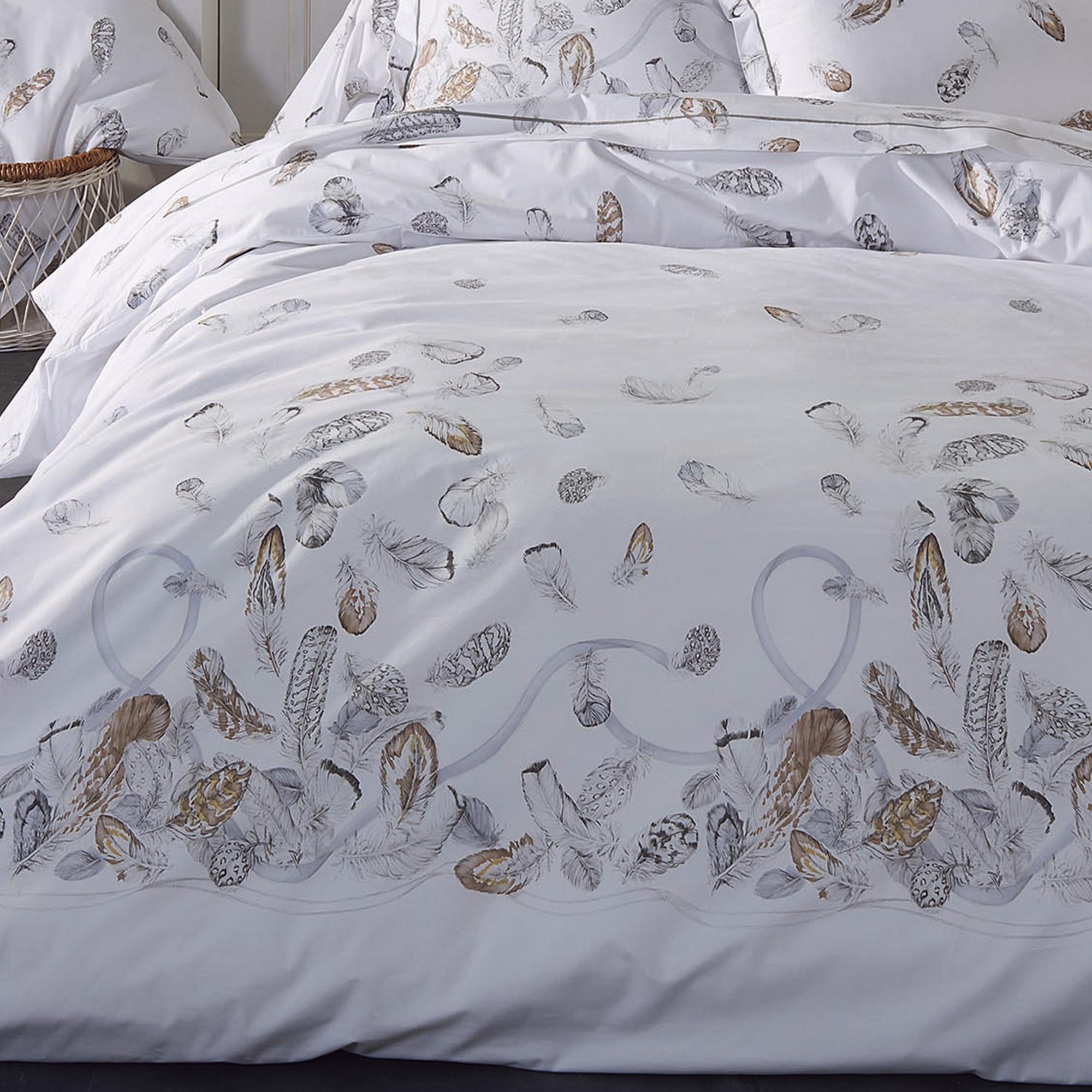 Housse De Couette 140x200 Cm Percale Pur Coton Plumes