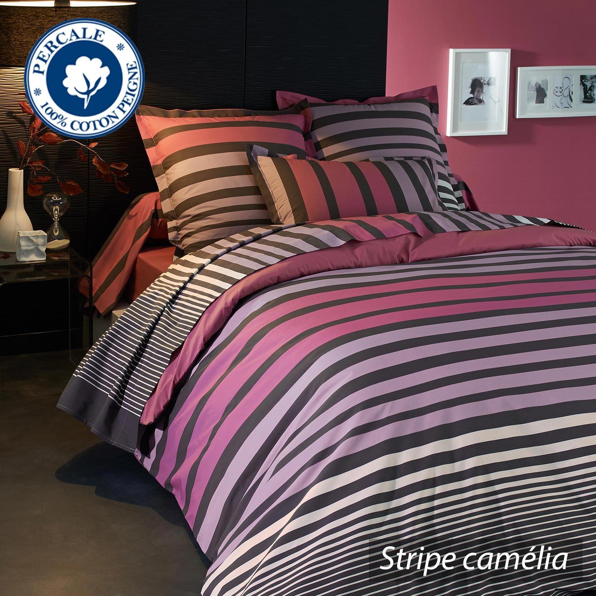 housse de couette percale pur coton peign 140x200 cm stripe camelia linnea vente de linge de. Black Bedroom Furniture Sets. Home Design Ideas