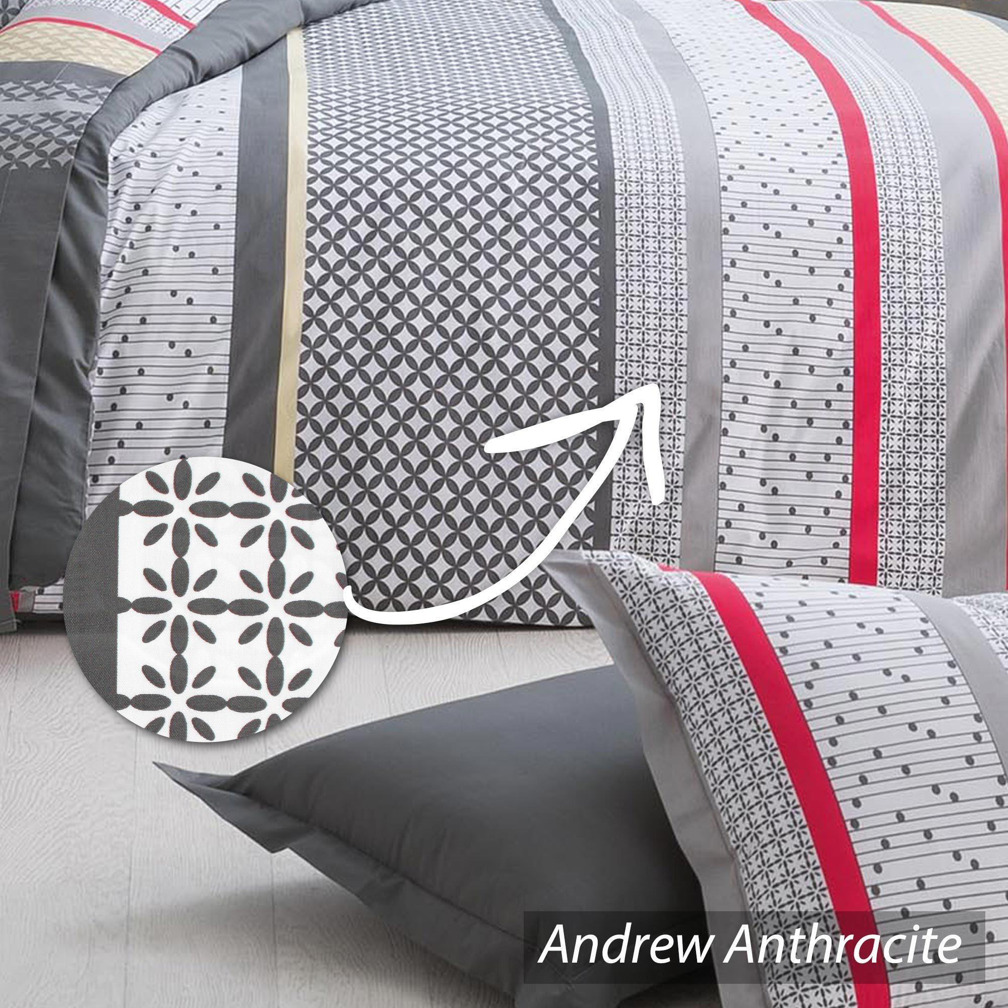 housse de couette 200x200 cm percale pur coton andrew anthracite d stockage eur 58 84. Black Bedroom Furniture Sets. Home Design Ideas