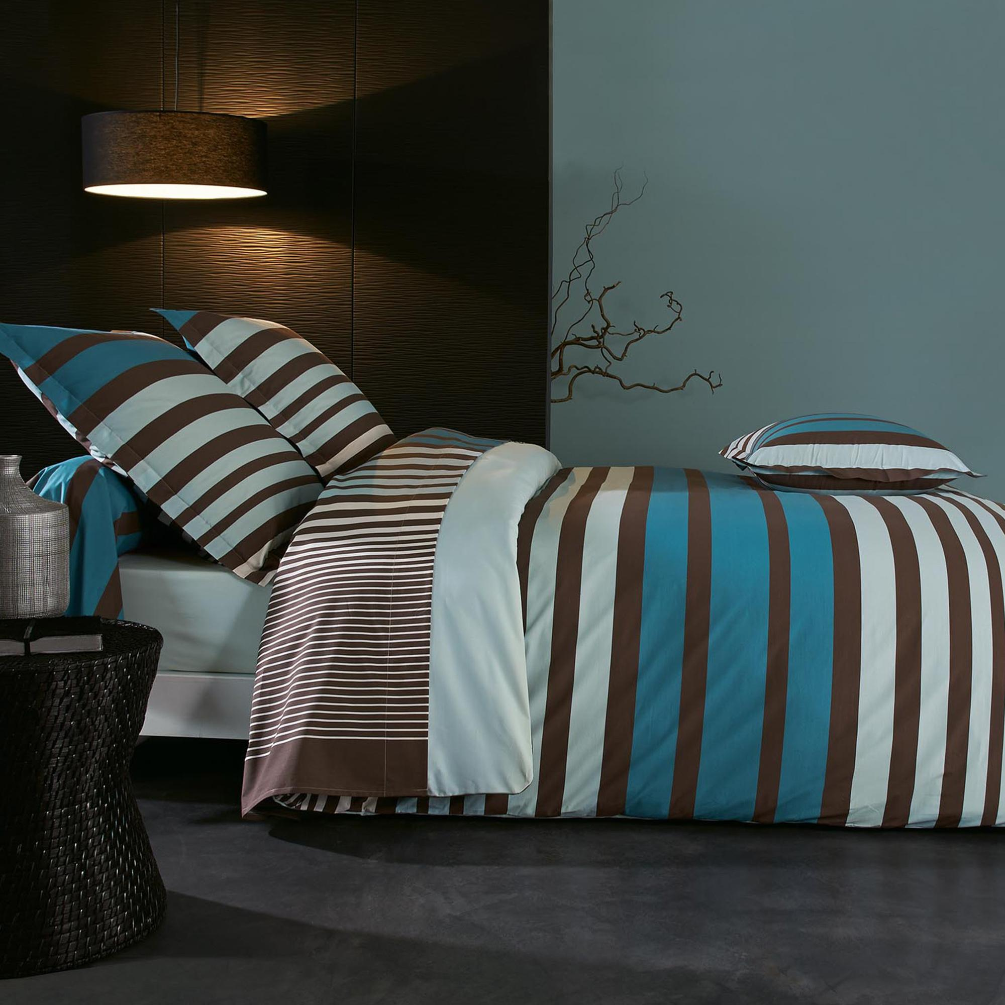 housse de couette percale pur coton peign 260x240 cm stripe bleu linnea linge de maison et. Black Bedroom Furniture Sets. Home Design Ideas